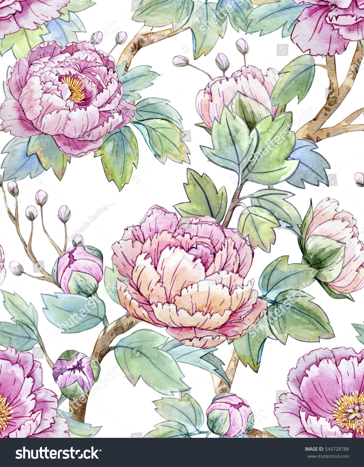 Watercolor Floral Pattern Of Chinese Style Spring Seamless