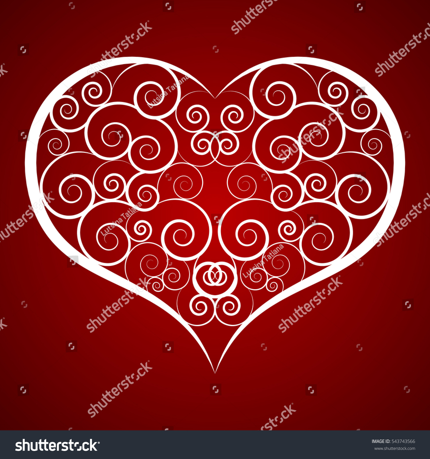 Ornamental heart on bright red background stock vector 543743566 ornamental heart on bright red background valentines day greeting card love concept for valentines kristyandbryce Choice Image