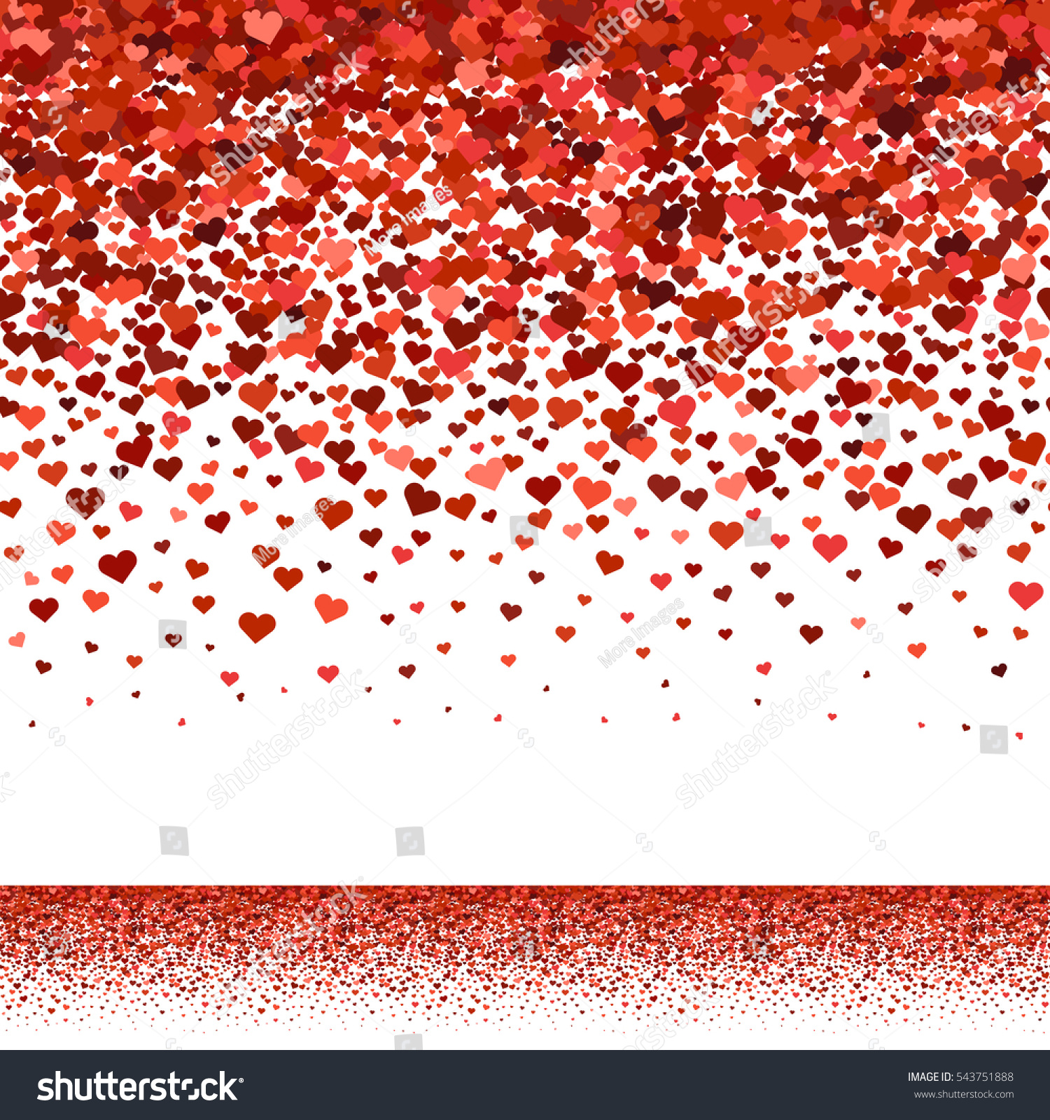 Seamless Red Hearts Fall Upper Border Stock Vector 543751888 - Shutterstock