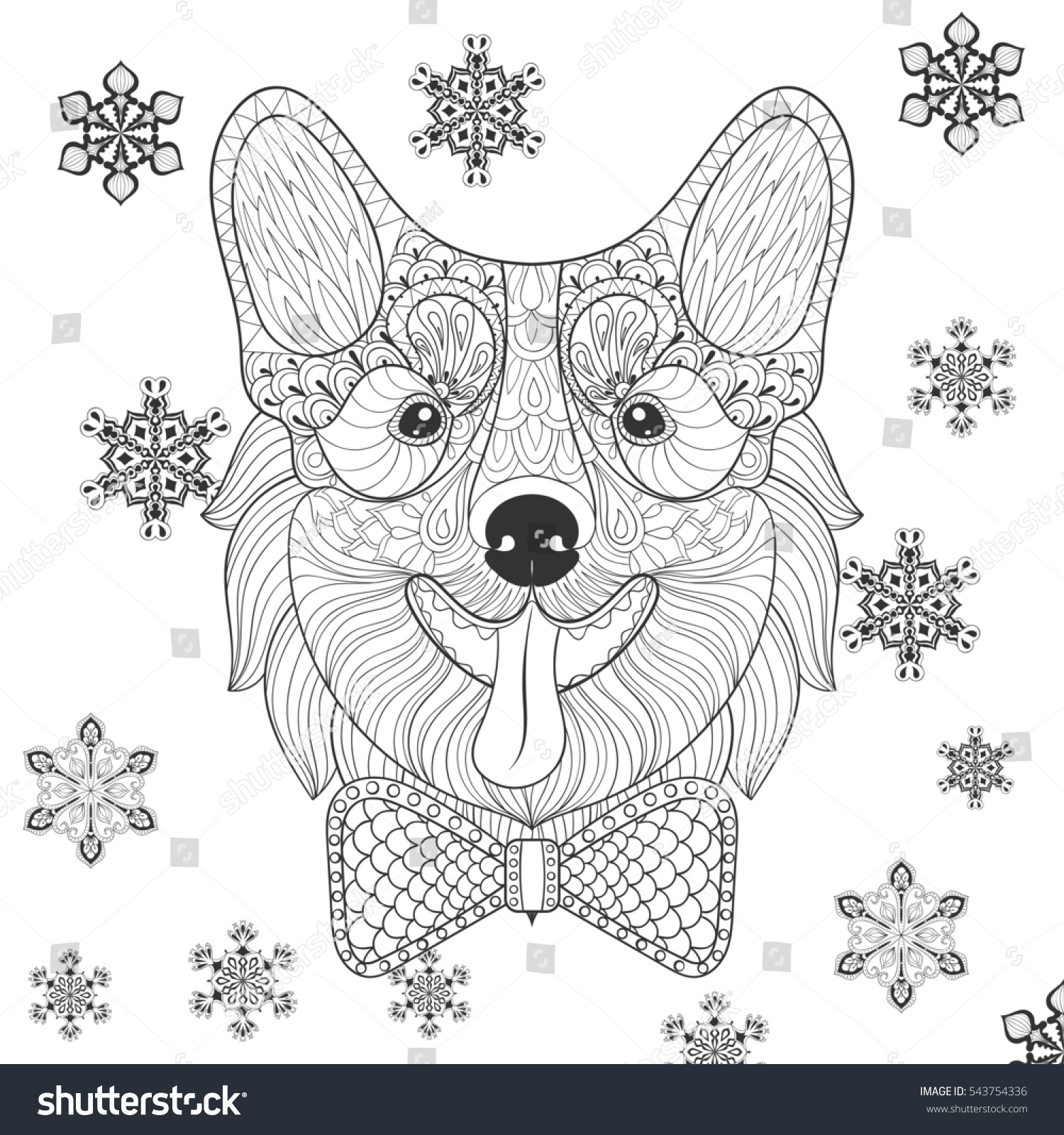 Zentangle Welsh Corgi With Bow Tie In Monochrome Doodle Style Hand