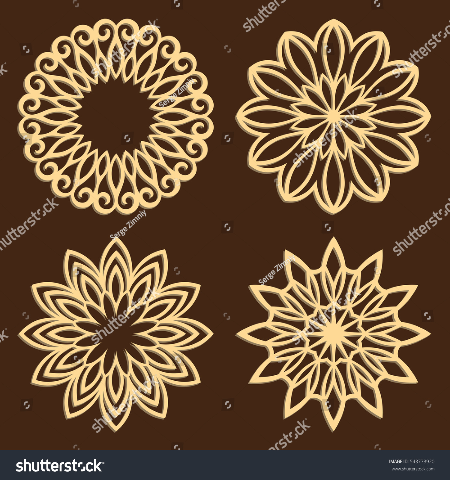Diy Laser Cutting Patterns Jigsaw Die Stock Vector Royalty Free