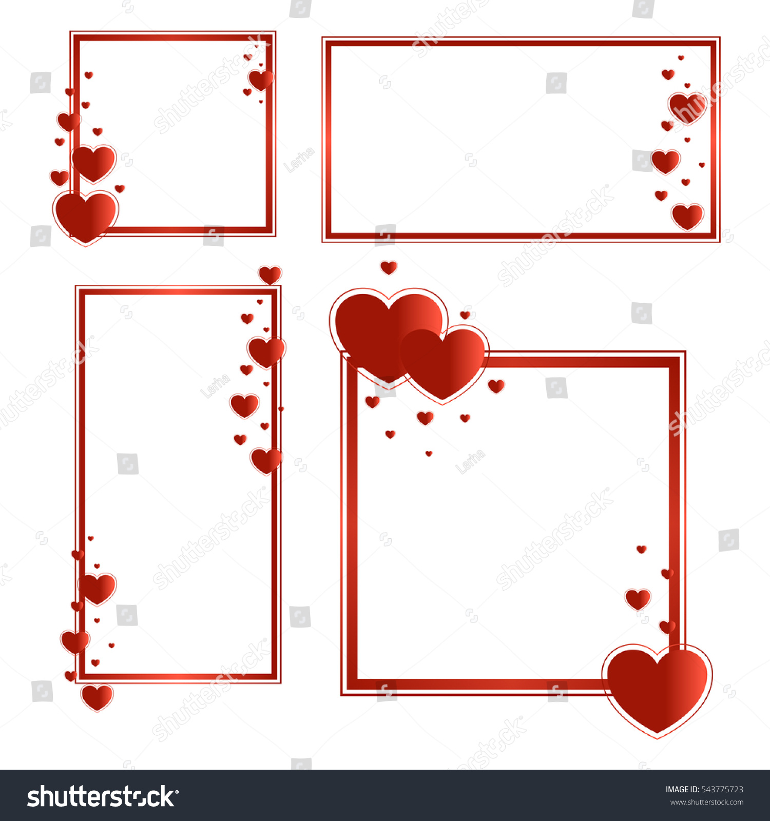 Frames Text Photo Red Hearts Horizontal Stock Vector Royalty Free