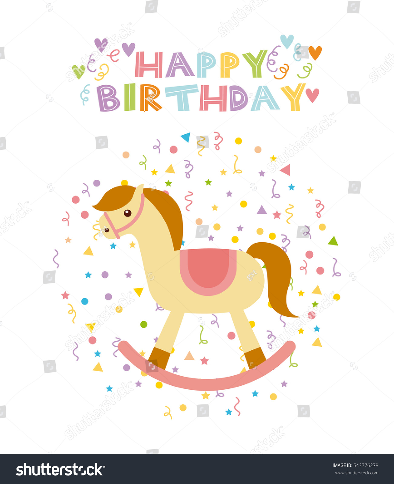 Happy birthday card horse toy cute stock vector 543776278 shutterstock happy birthday card with horse toy cute icon over white background colorful design vector bookmarktalkfo Image collections