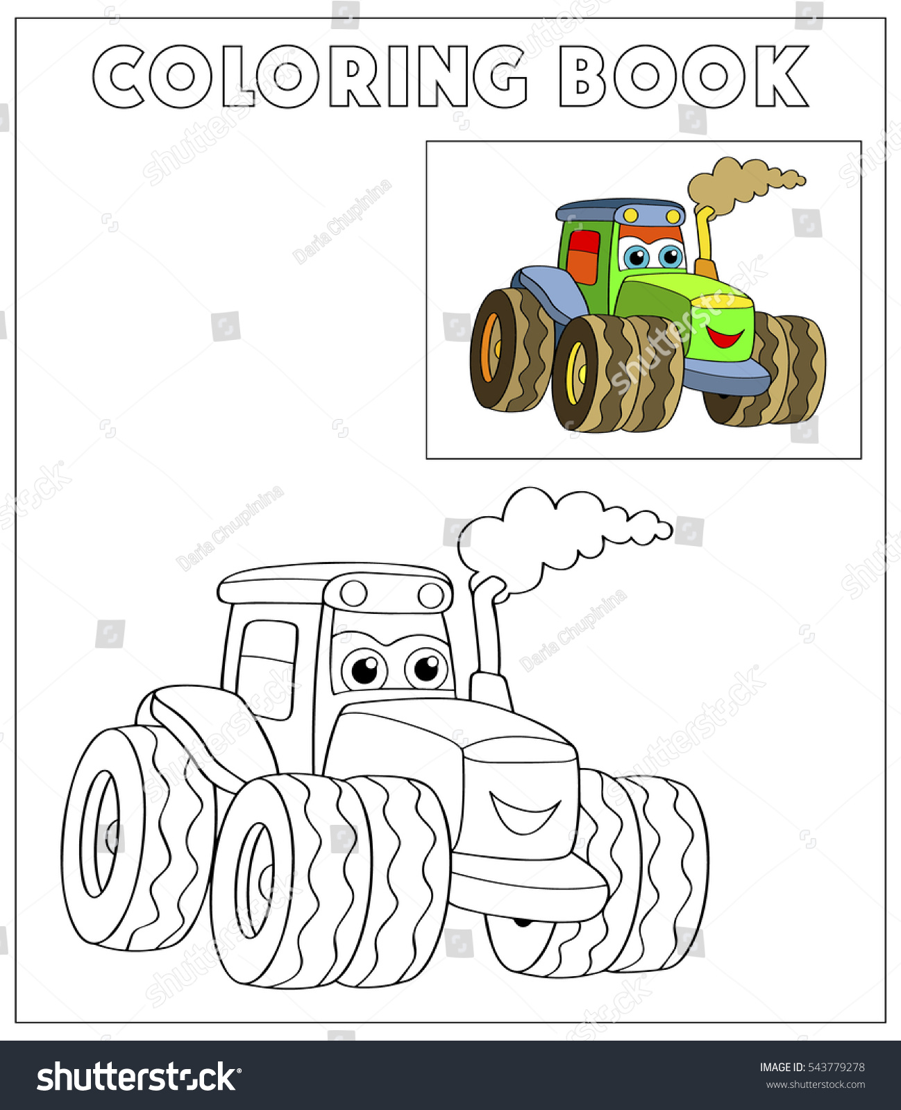 cartoon truck color page illustration children stock vector