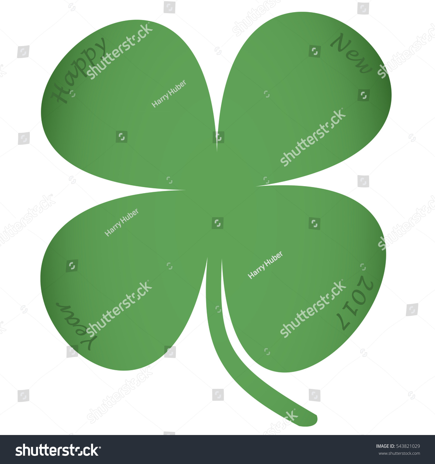 Four Leaf Clover Text Happy New Stock Illustration 543821029