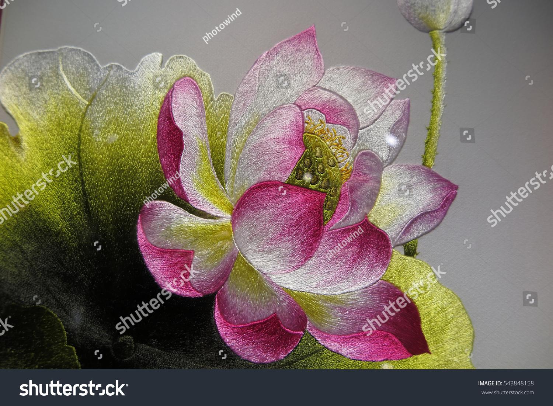 Vietnamese Lotus Flower Silk Embroidery Main Stock Photo Edit Now