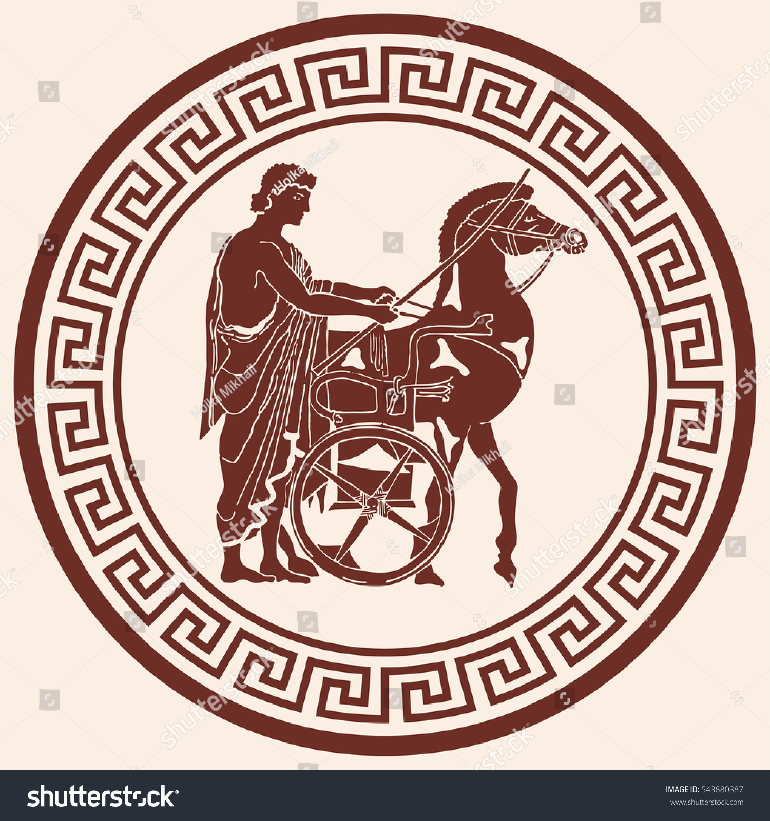Greek style drawing pano national ornament stock vector 543880387 greek style drawing pano with national ornament warrior in tunic equips horses biocorpaavc Image collections