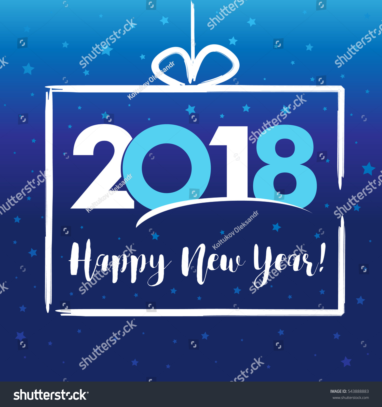 modern gift frame 2018 happy new year vector card 2018 happy new year present