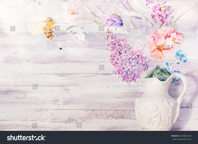 Spring Floral Decoration Watercolor Paper Purple Stock Photo Edit