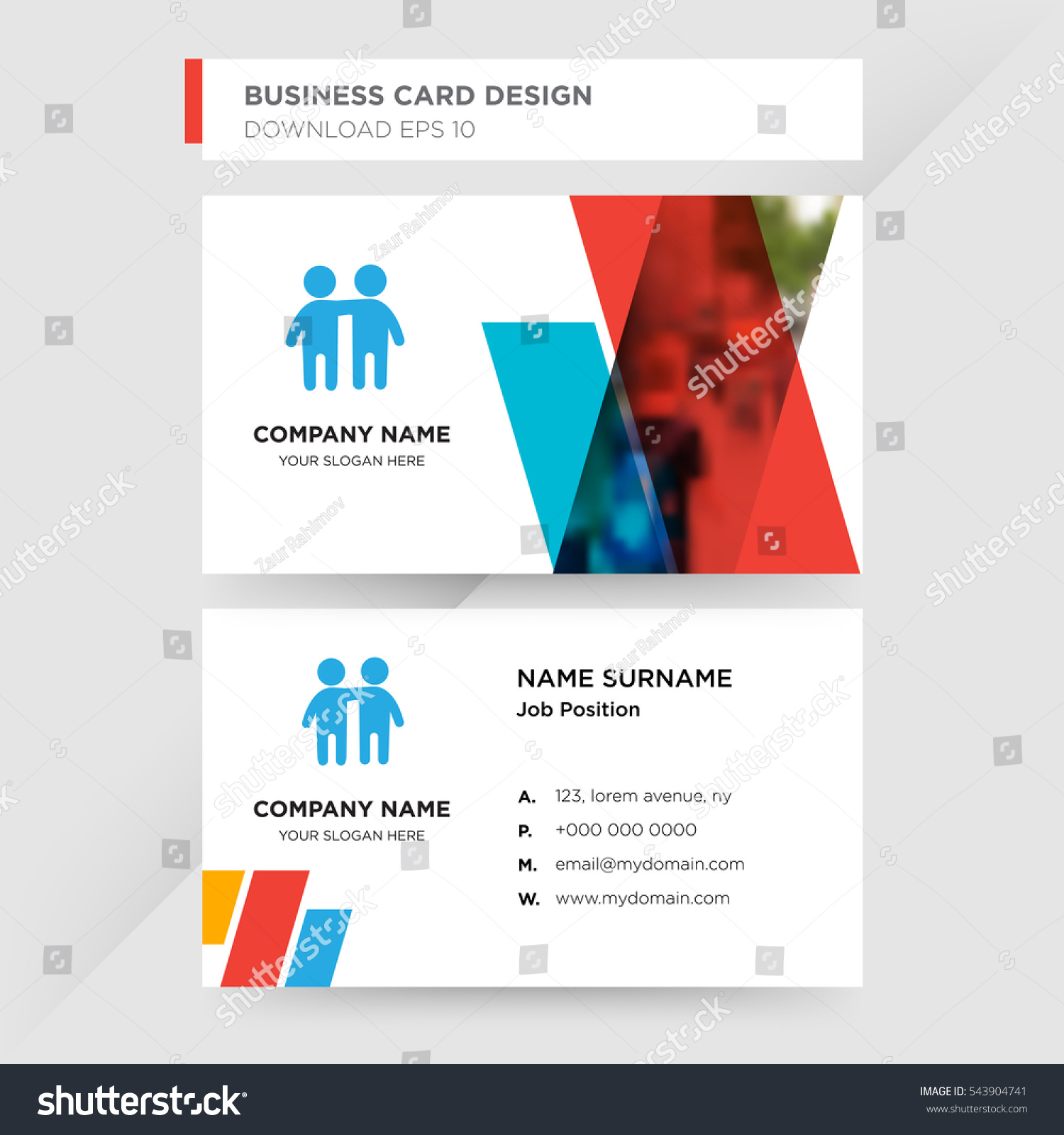 Template business card kindergarten company blue em vetor stock template of business card for kindergarten company with blue two baby friends vector on gray background reheart Images