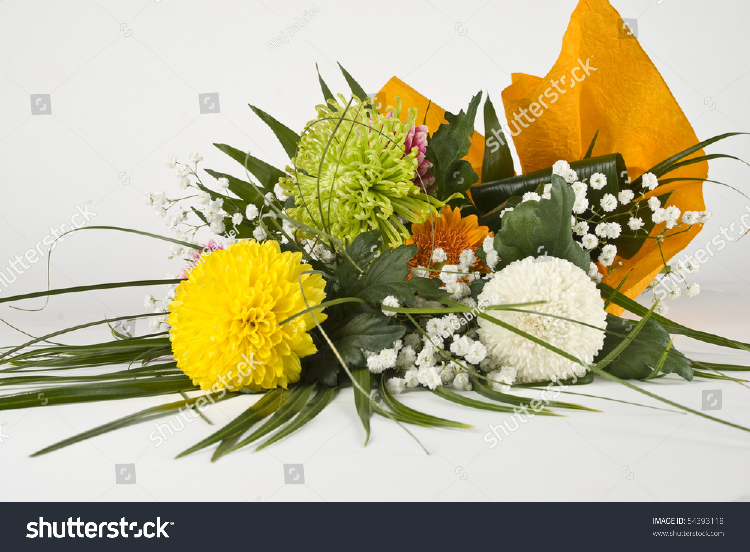 Chrysanthemum Bouquet With Green,Yellow And White Flowers ...