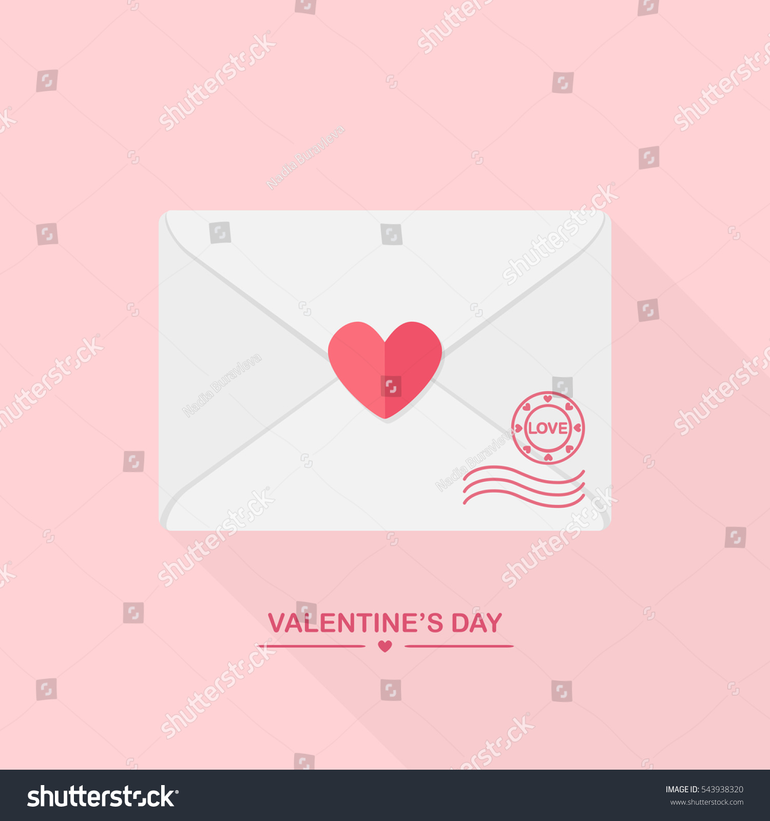 Valentines Day Greeting Card Envelope Stamp Stock Vector
