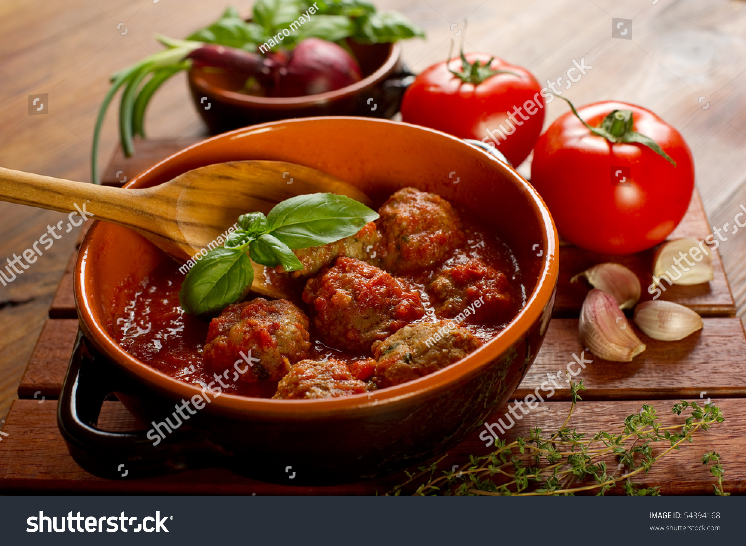 Bowl With Meatballs And Tomato Sauce Stock Photo 54394168 ...