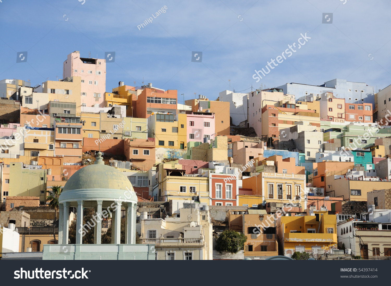 Colorful houses in las palmas de gran canaria spain stock - Houses in gran canaria ...