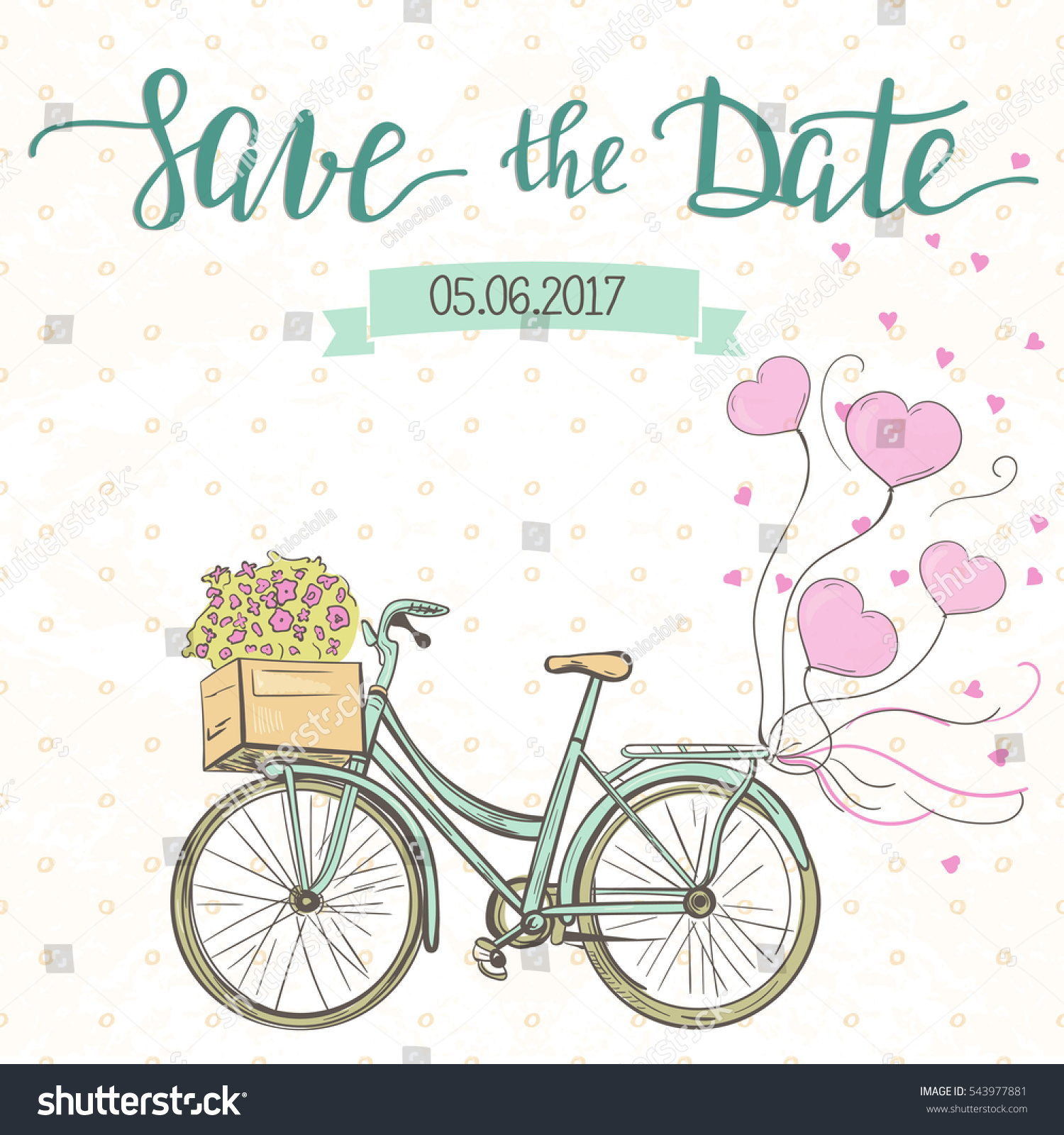 Wedding Invitation Template Cute Bike Balloons Stock Vector (2018 ...