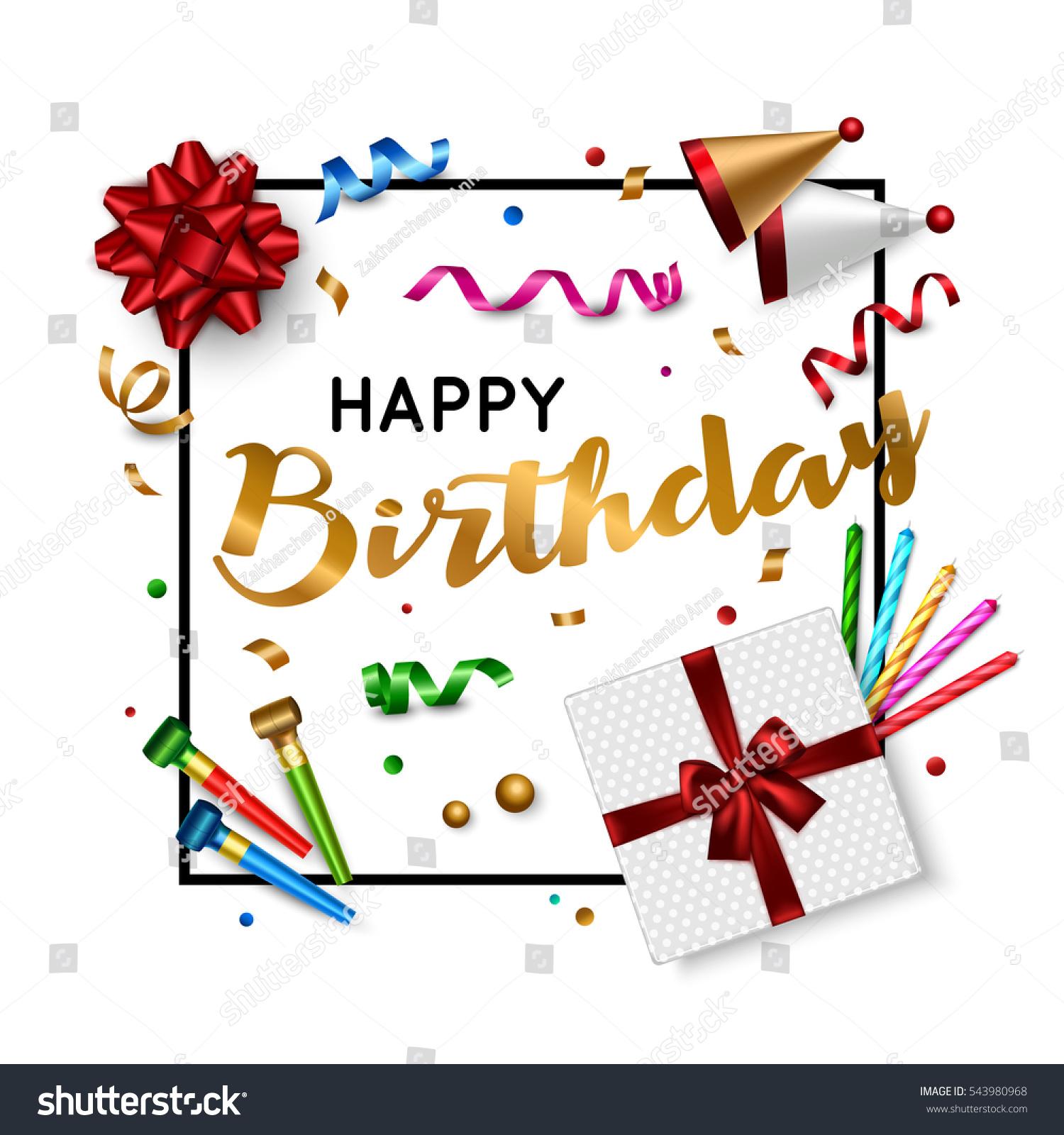 Happy Birthday Card Template Gift Box Image Vectorielle De Stock