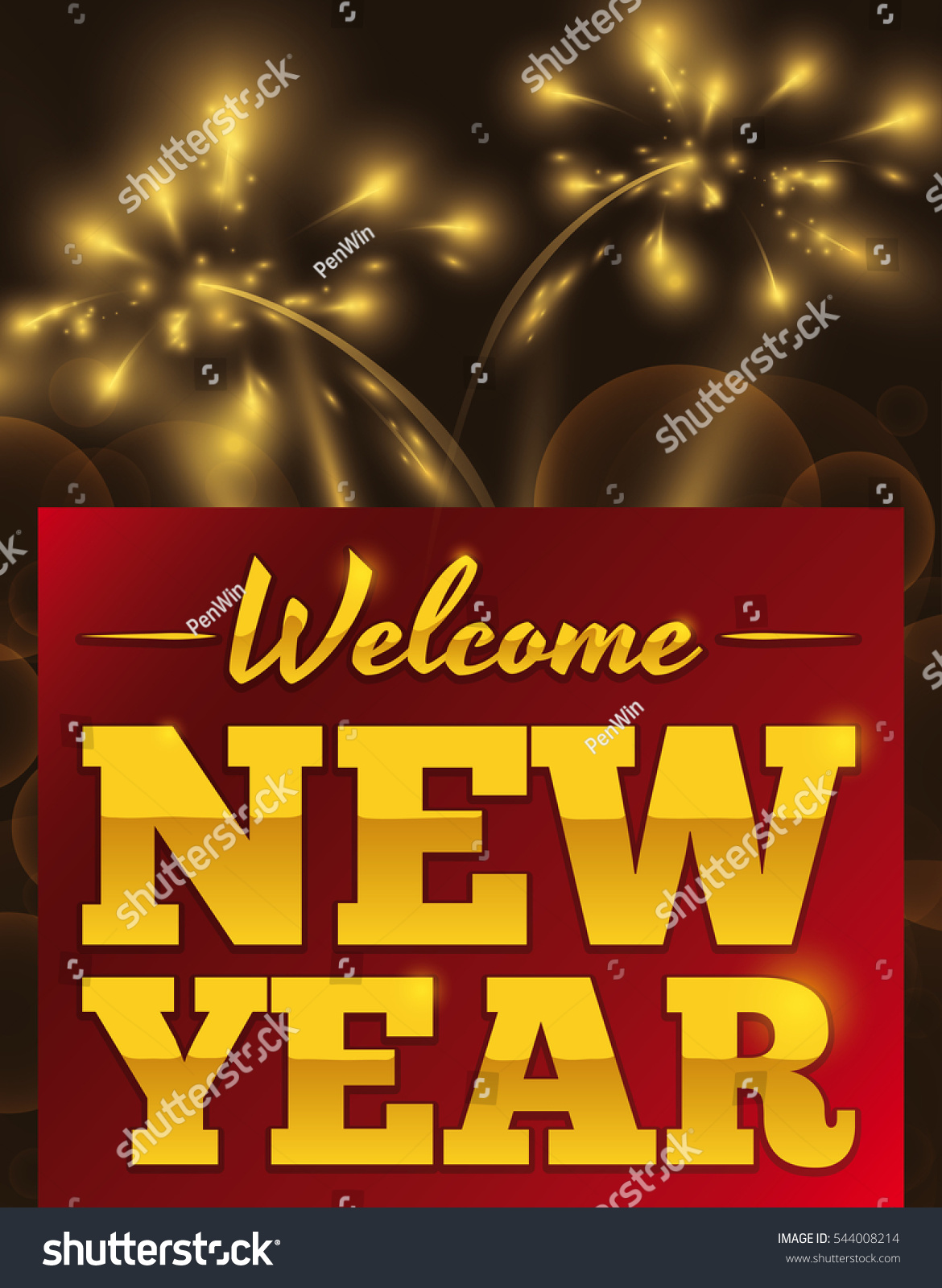 Poster Greeting Message Welcoming New Year Stock Vector Royalty
