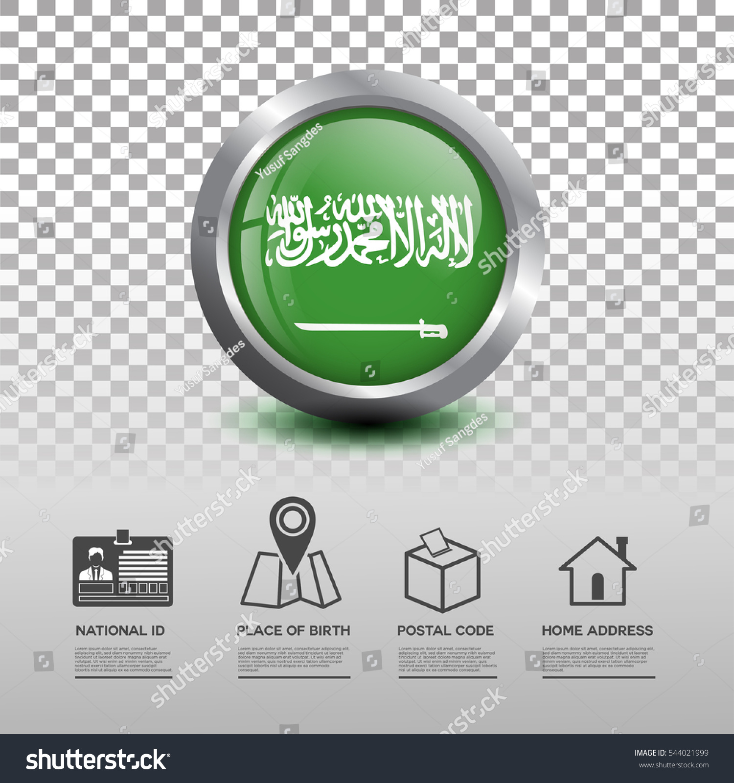 Circle Flag Saudi Arabia Glossy Icon Stock Vector (Royalty