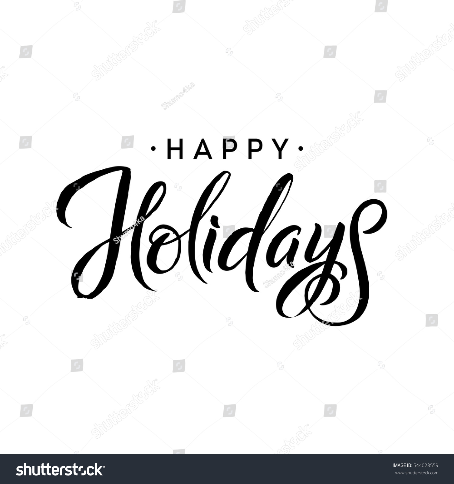 Happy Holidays Merry Christmas Calligraphy Template Stock
