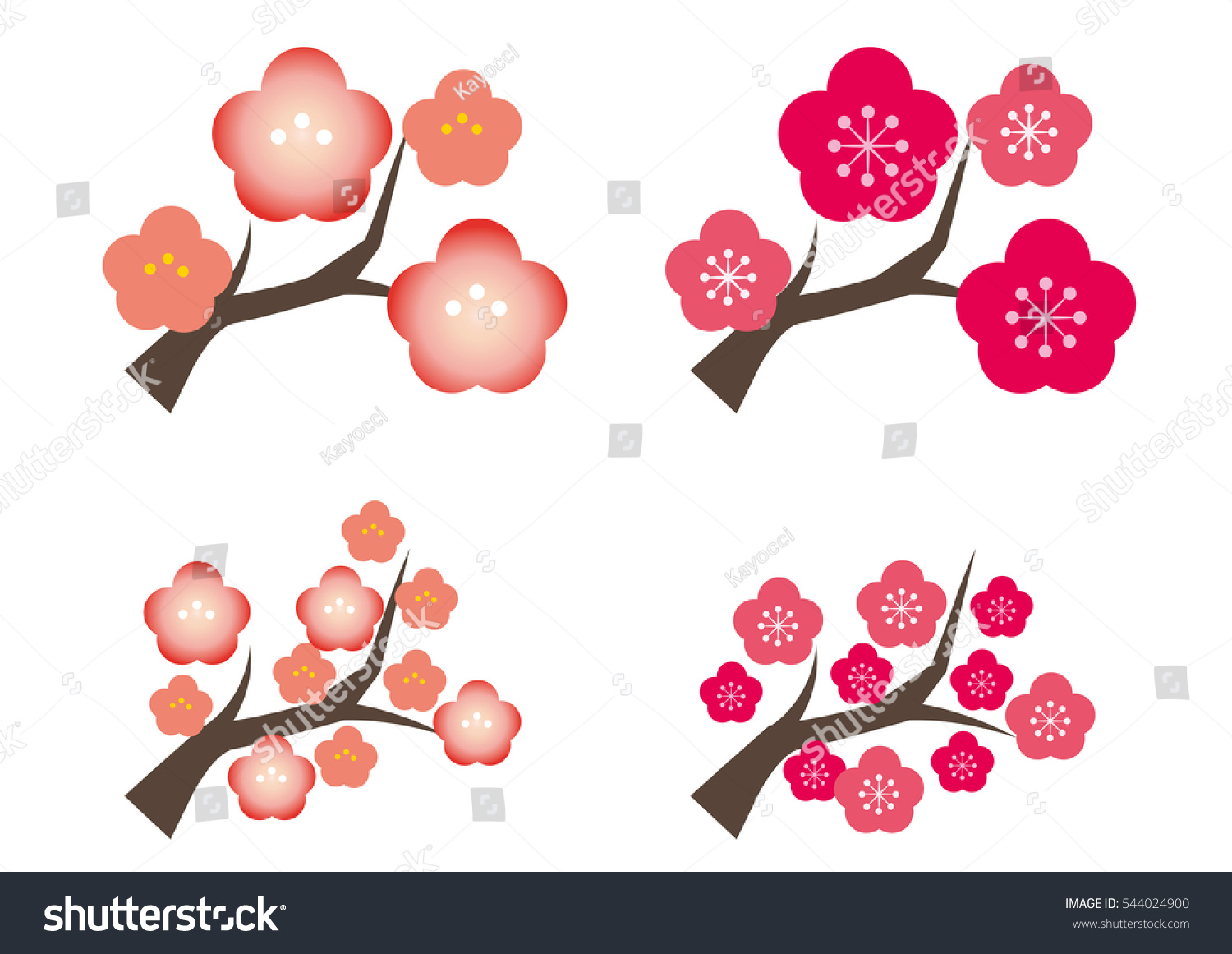 Plum Tree Four Types Early Spring Stock Vector 2018 544024900