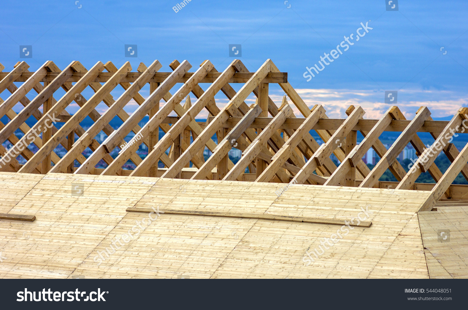 Roofing construction wooden roof frame house stock photo for House roof construction