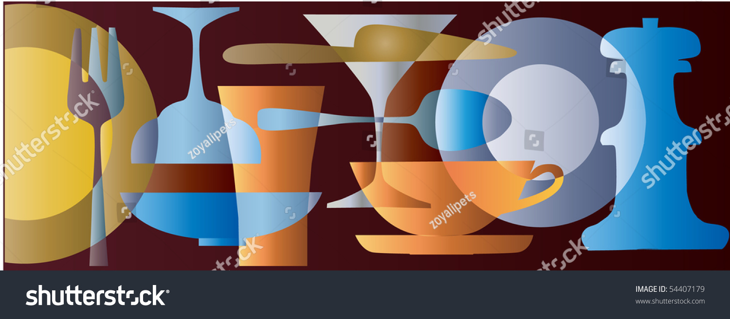 Kitchen Collection Logo Abstract Colorful Kitchen Collection Wallpaper Pattern Stock