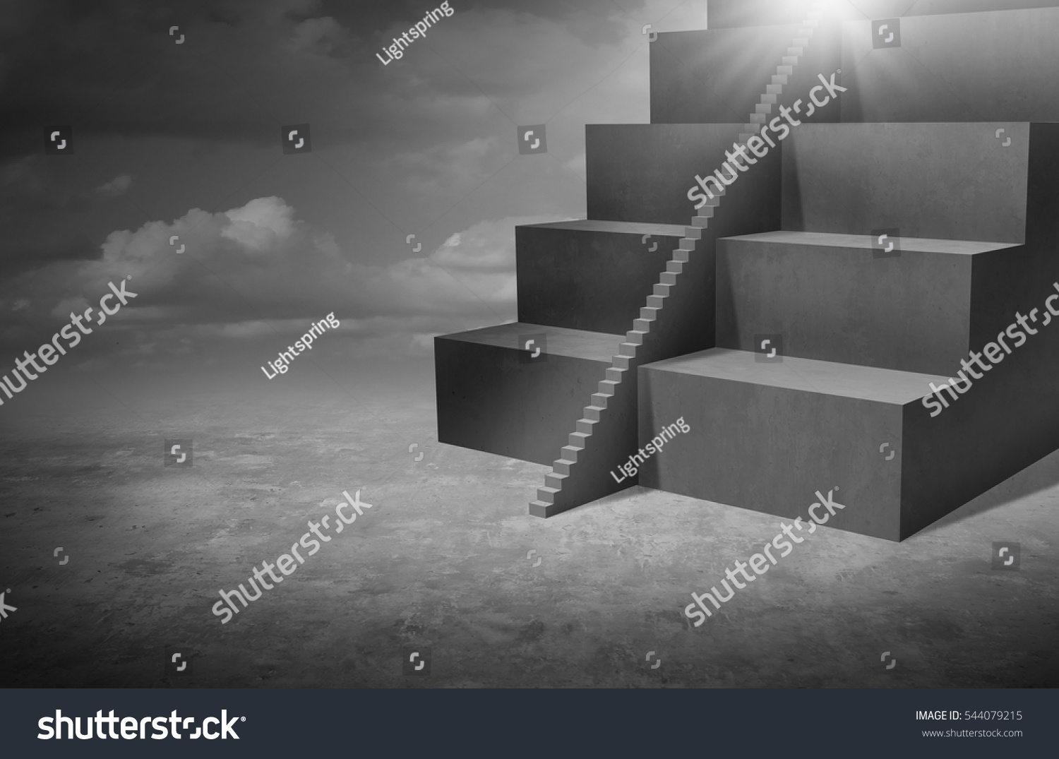 Small business opportunity and solutions as big stairs with tiny staircase as a success pathway for smaller companies or individuals with 3D illustration elements