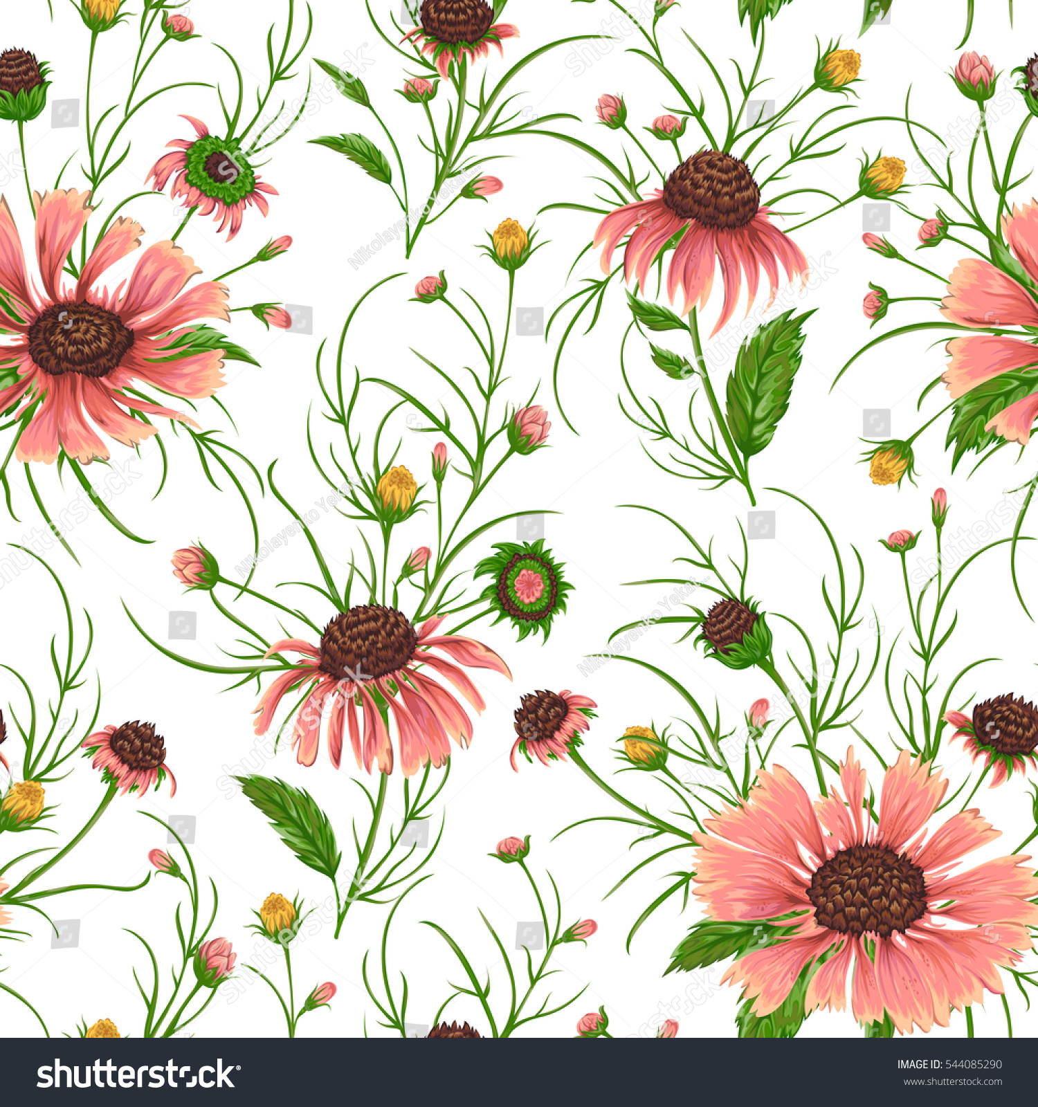Seamless Pattern Chamomile Flowers Rustic Floral Stock Vector