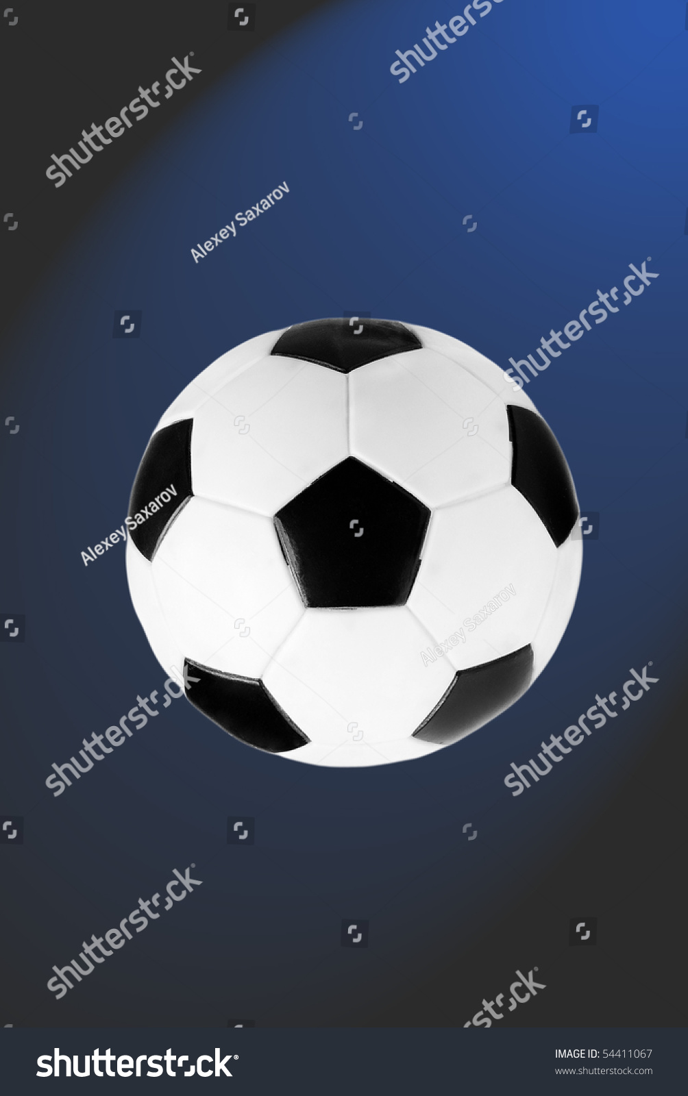 Black and white soccer ball isolated on the blue and grey gradient background