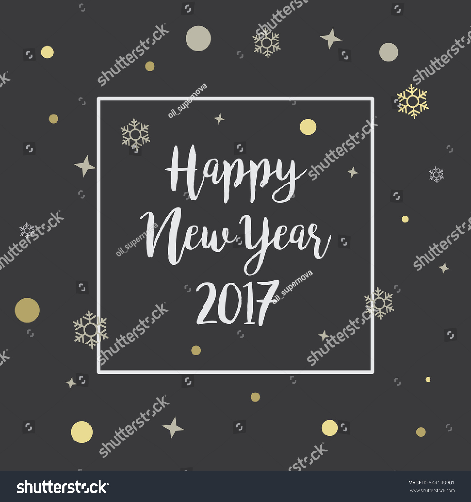 Happy New Year 2017chalkboard Handwriting Letter Stock