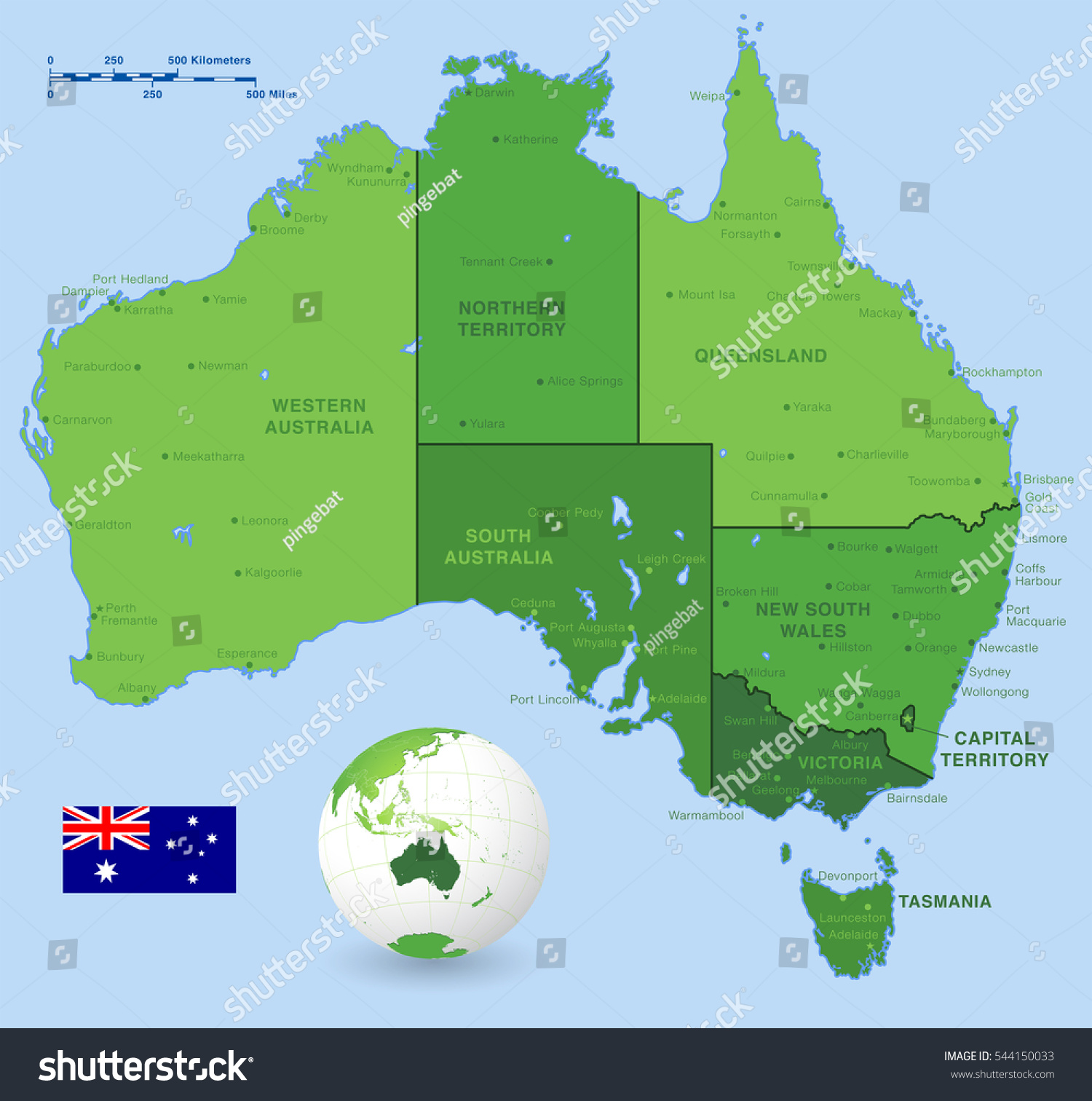a green high detail vector map of australia states and major cities with a 3d