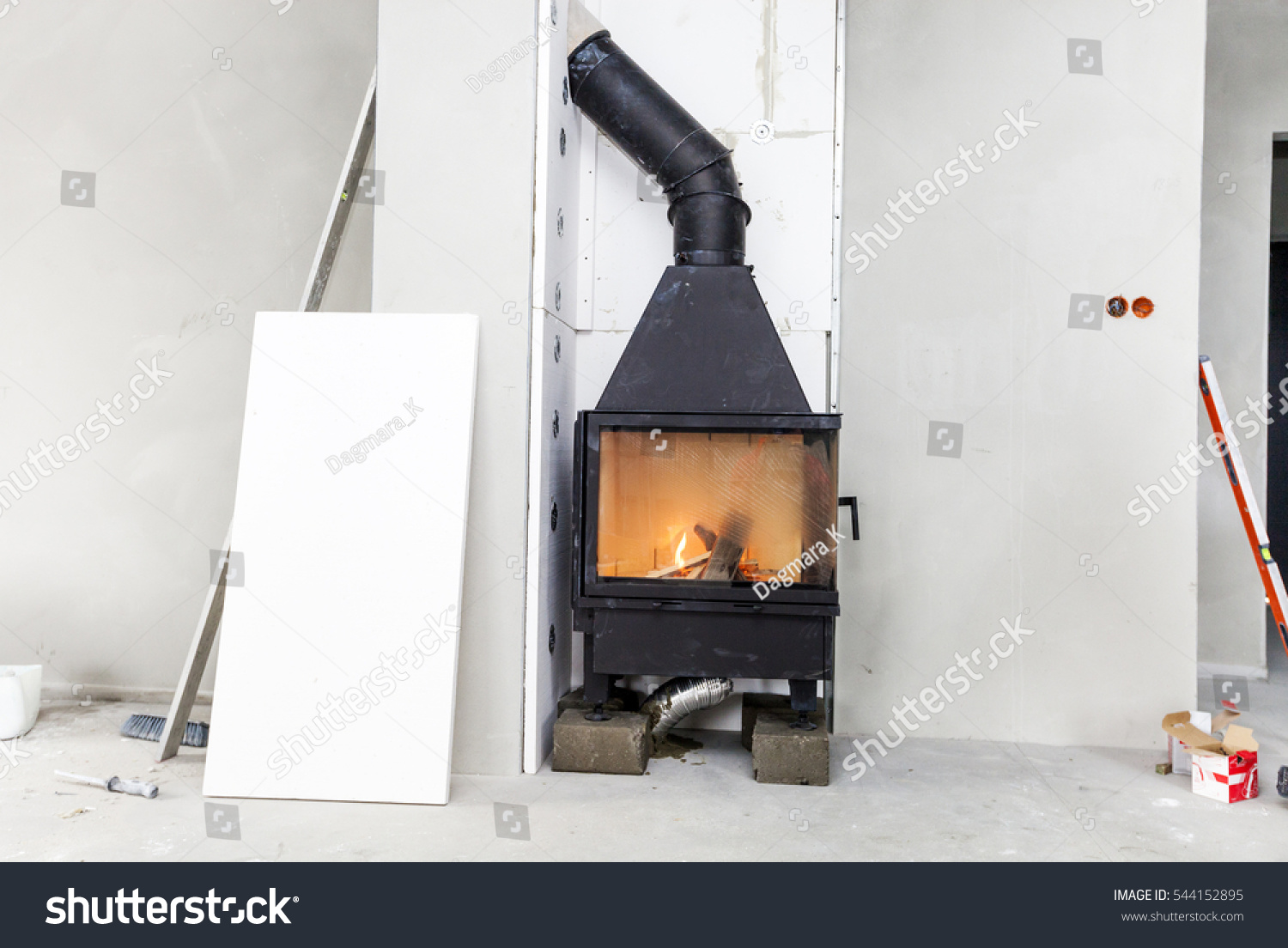 fireplace installing fireplace made calcium silicate stock photo