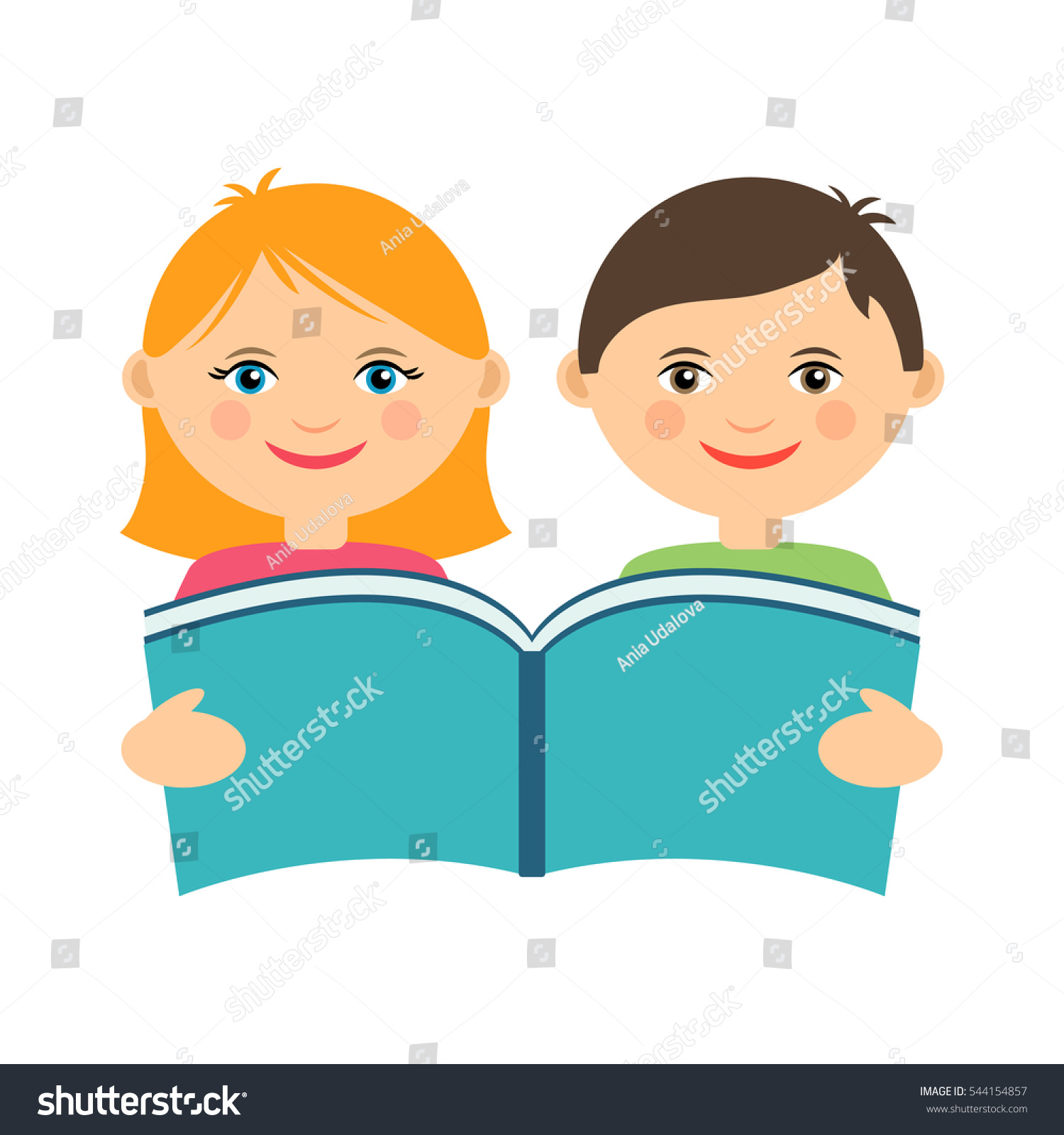 Vector Illustration Smiling Kids Reading Book Stock Vector ...