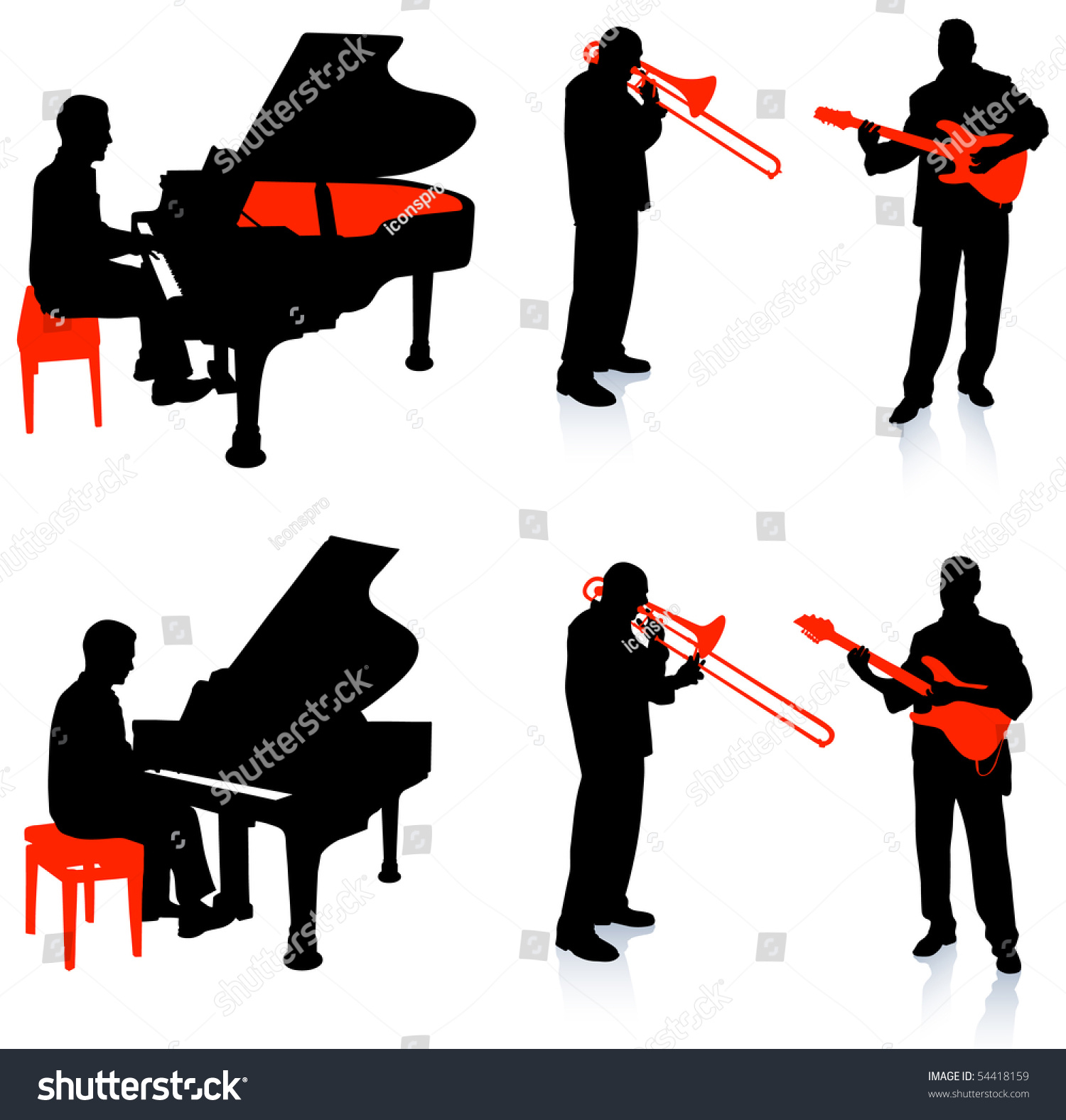 Arts Live Song Room: Live Band Musicians Silhouette Collection Original Stock
