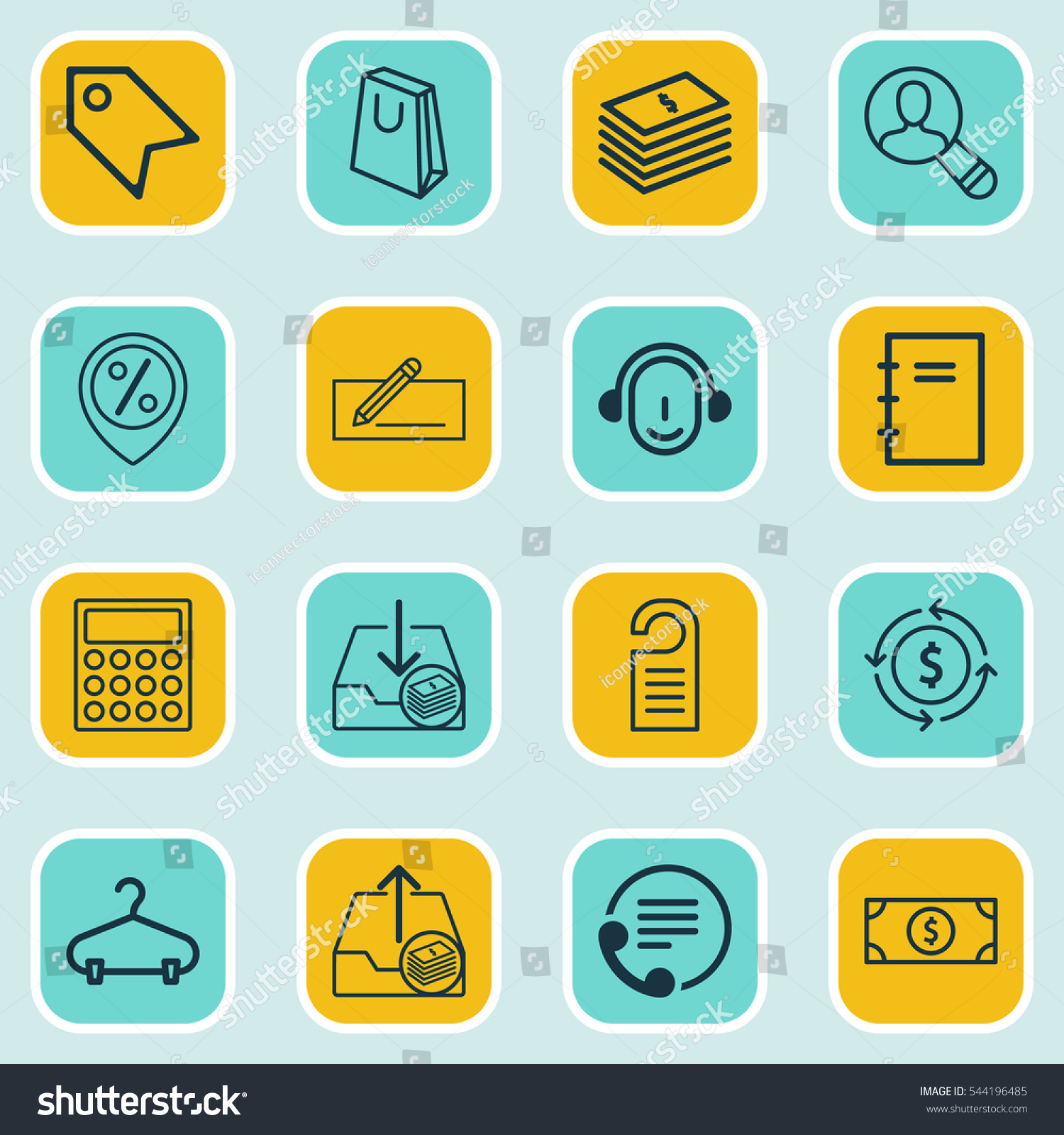 Set 16 Ecommerce Icons Includes Discount Stock Illustration ...