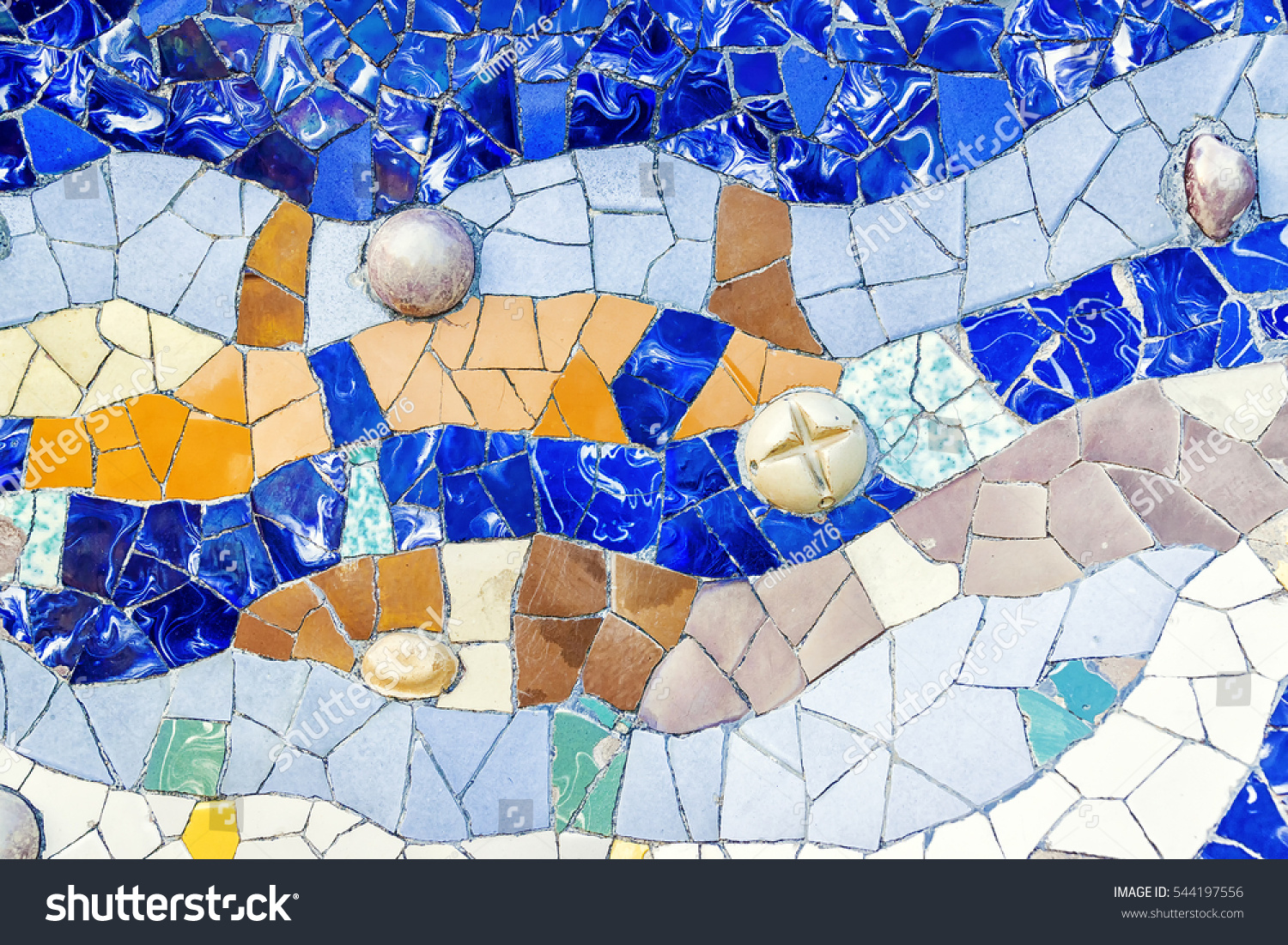 Closeup mosaic colored ceramic tile by stock photo 544197556 closeup of mosaic of colored ceramic tile by antoni gaudi at his parc guell barcelona dailygadgetfo Choice Image