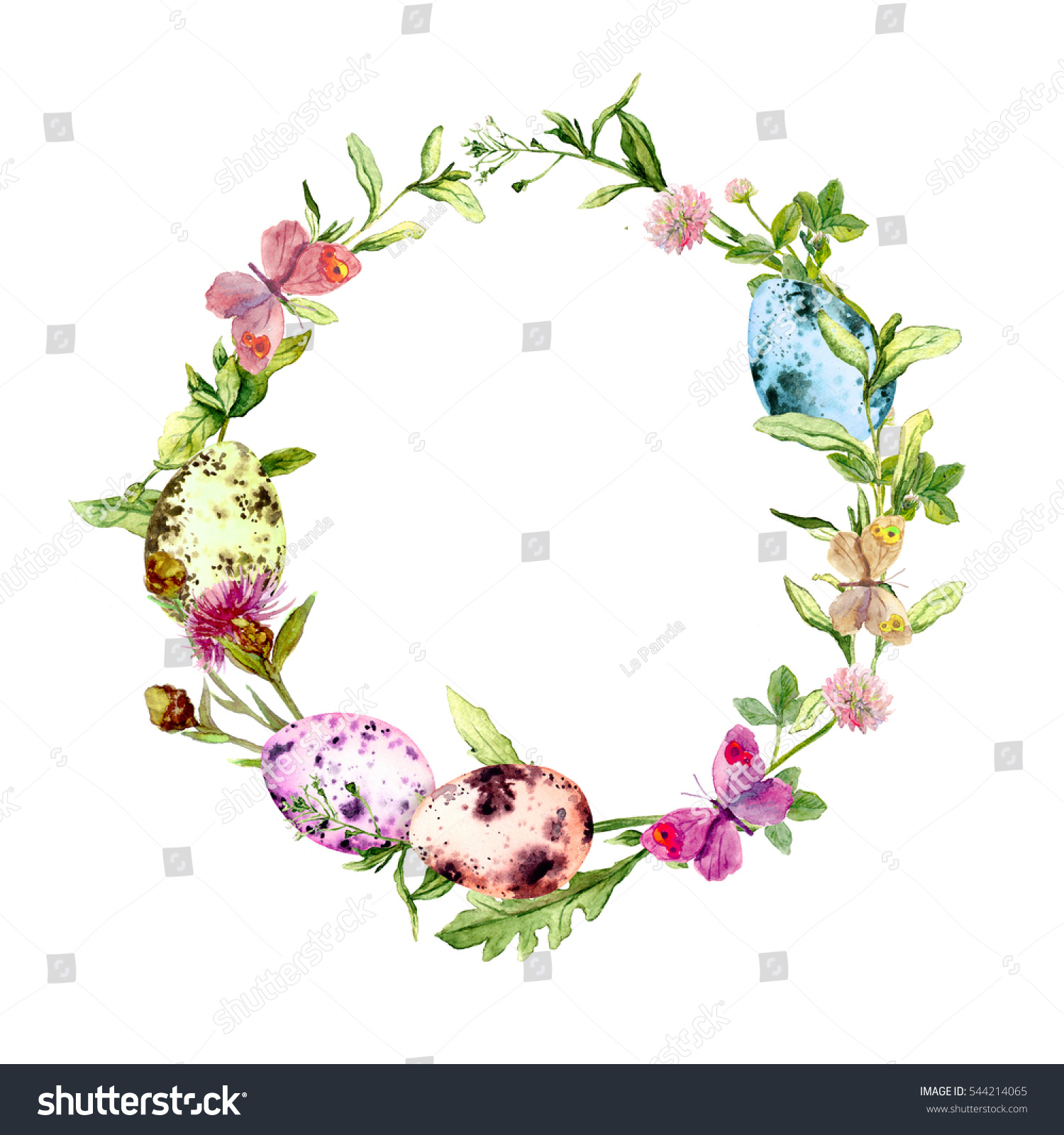 Easter Wreath With Eggs In Grass And Flowers Circle Border Watercolor 544214065