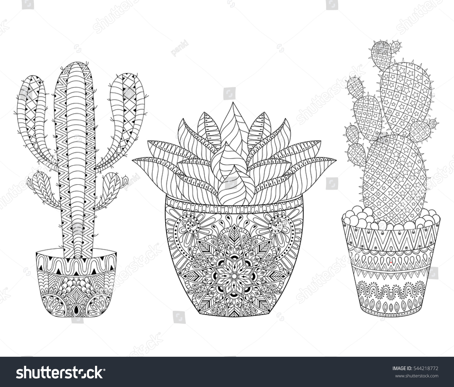 zentangle cactus set illustration hand drawn stock illustration