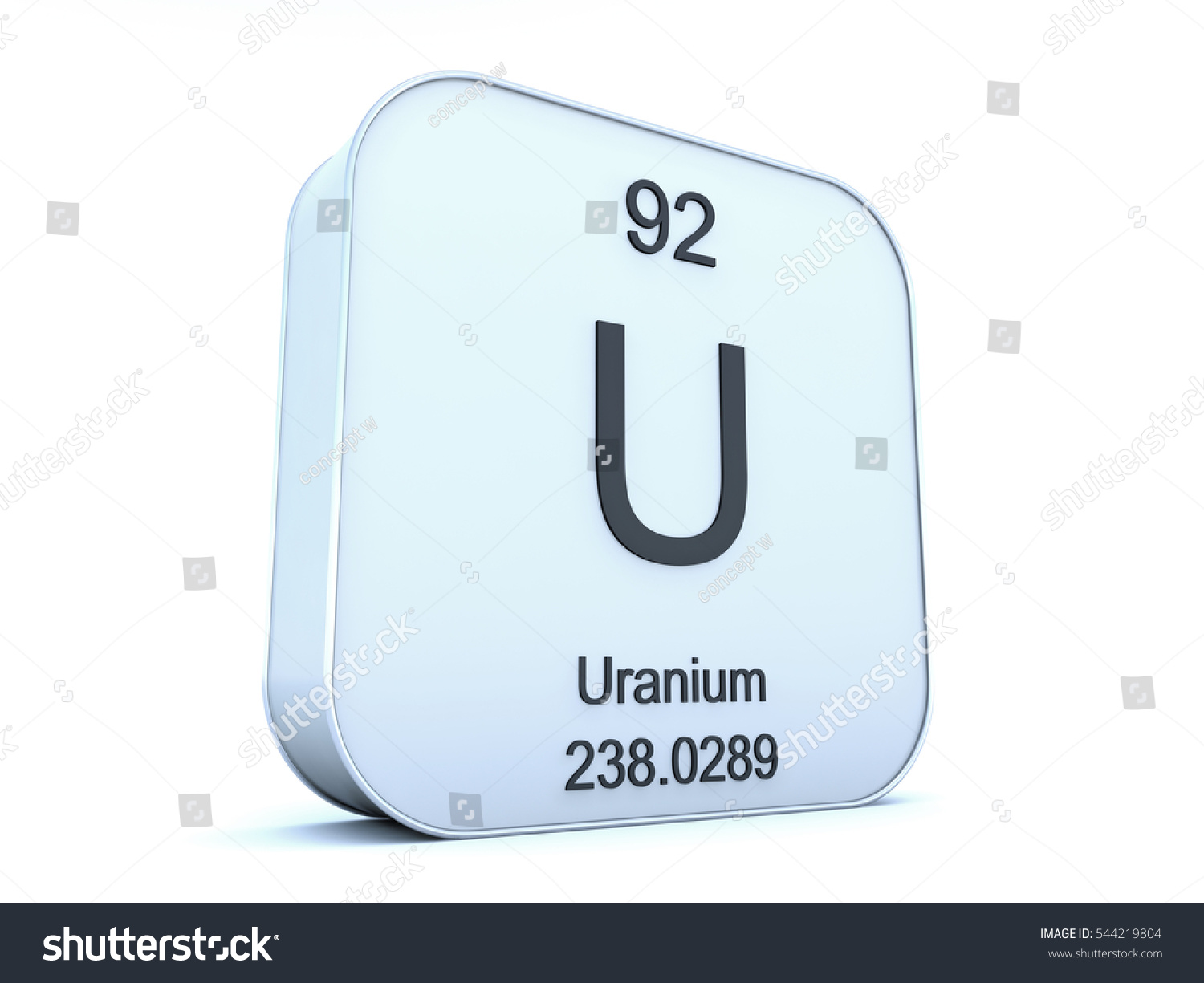 Uranium Element On White Square Icon Stock Illustration 544219804