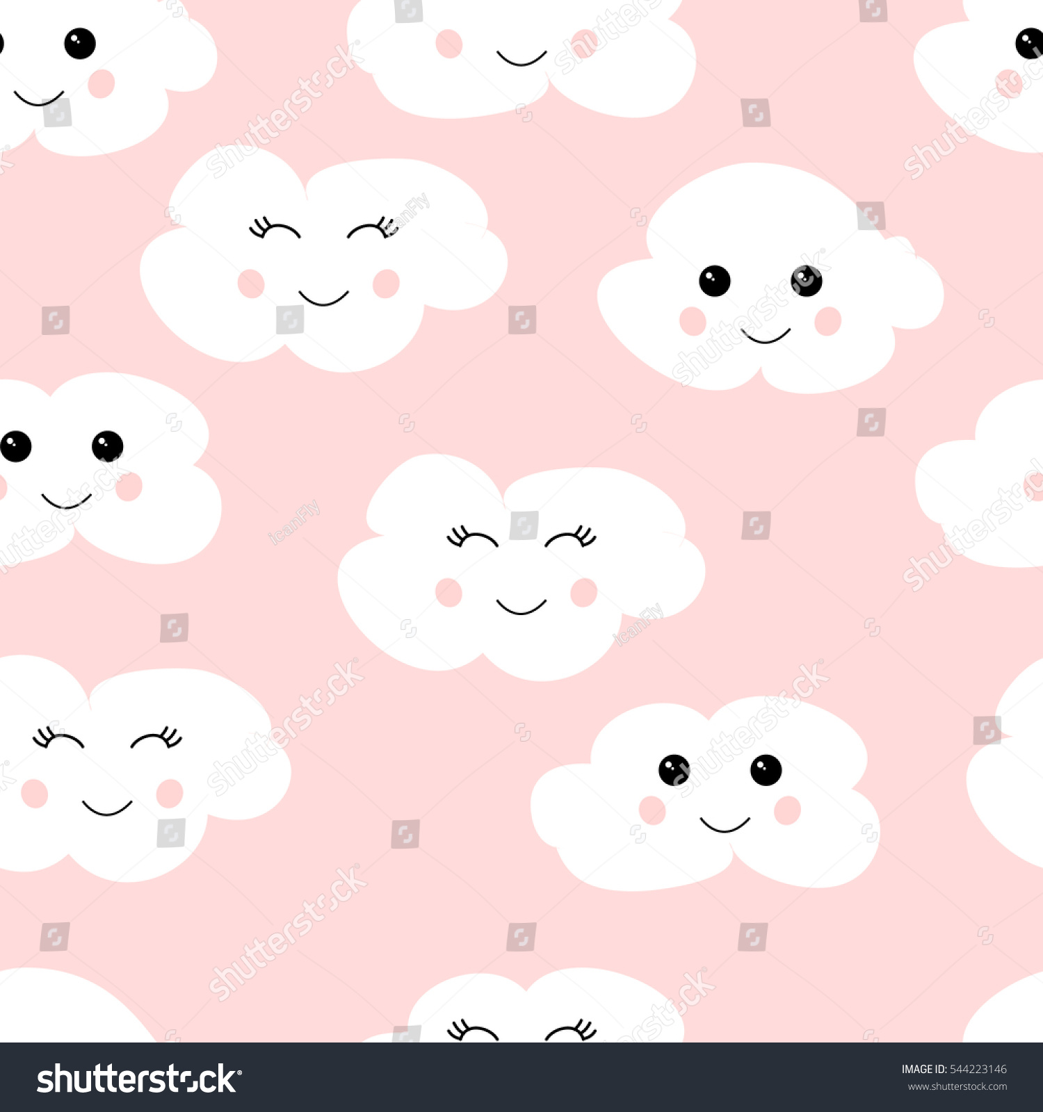Seamless pattern cute clouds vector eps 10 seamless pattern with cute clouds vector eps10 white clouds on pink background voltagebd Gallery