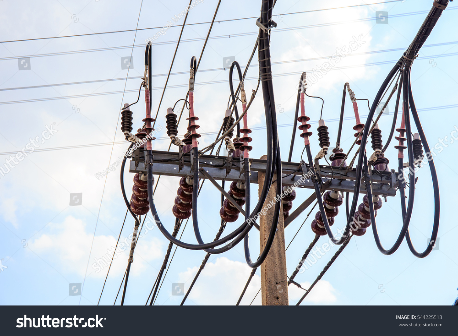 Electric Pole Wires Buck Arm Type Stock Photo (Royalty Free ...