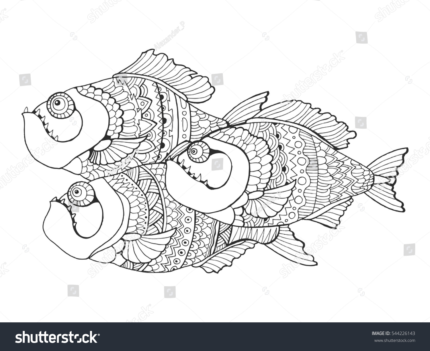 Piranha Fish Coloring Book For Adults Vector Illustration Anti Stress Adult