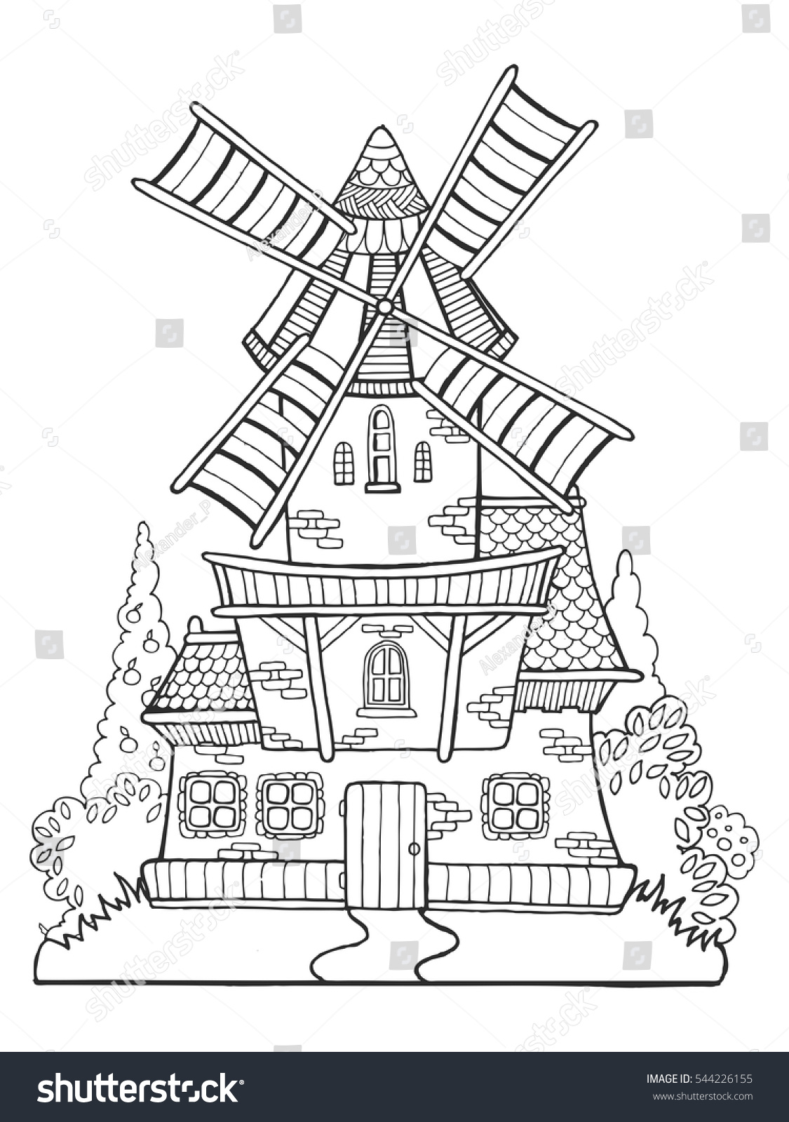 Coloring book landmark for adults - Windmill Drawing Coloring Book For Adults Vector Illustration Anti Stress Coloring For Adult