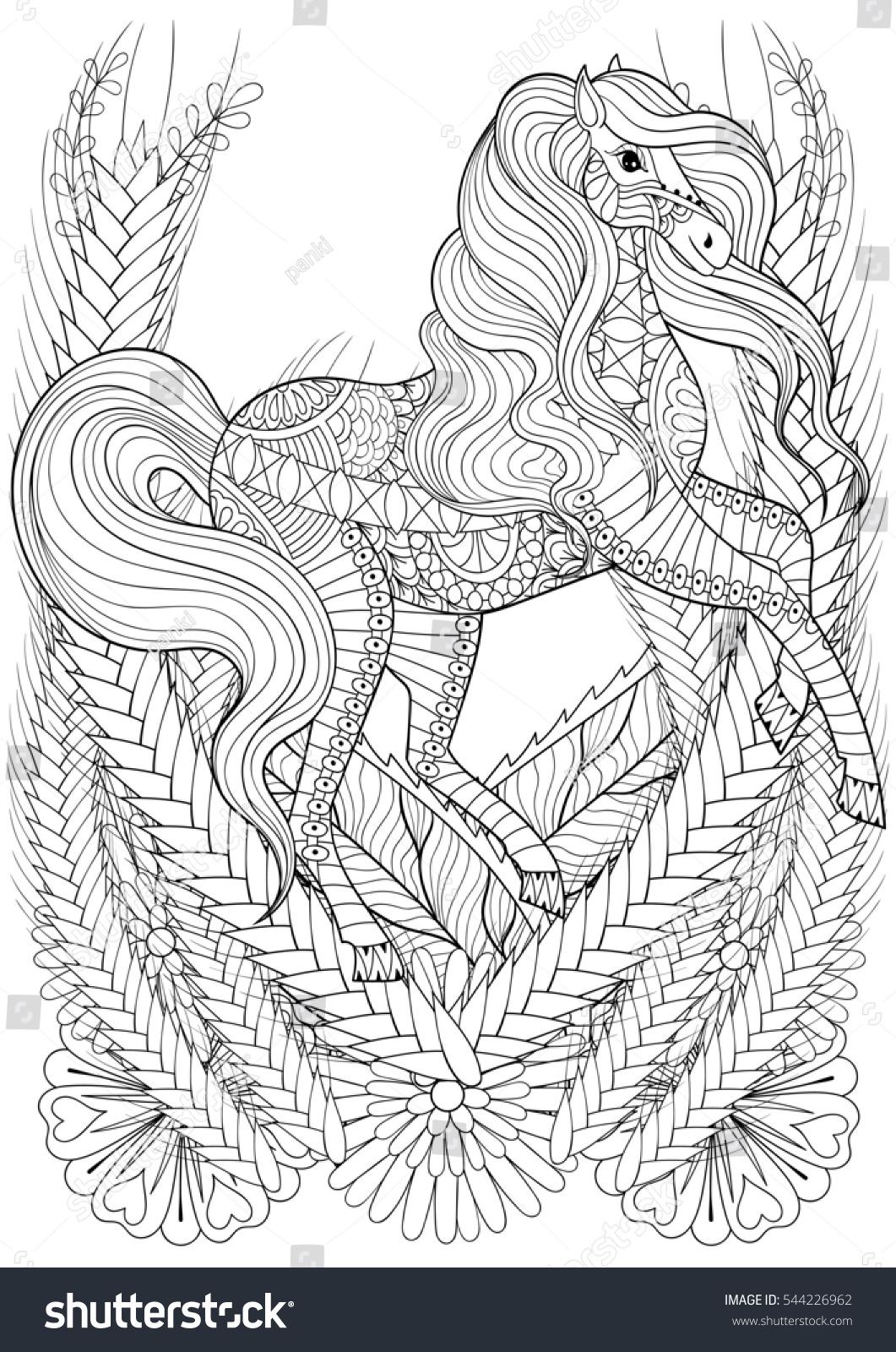 Racing Horse Flowers Adult Anti Stress Stock Illustration 544226962