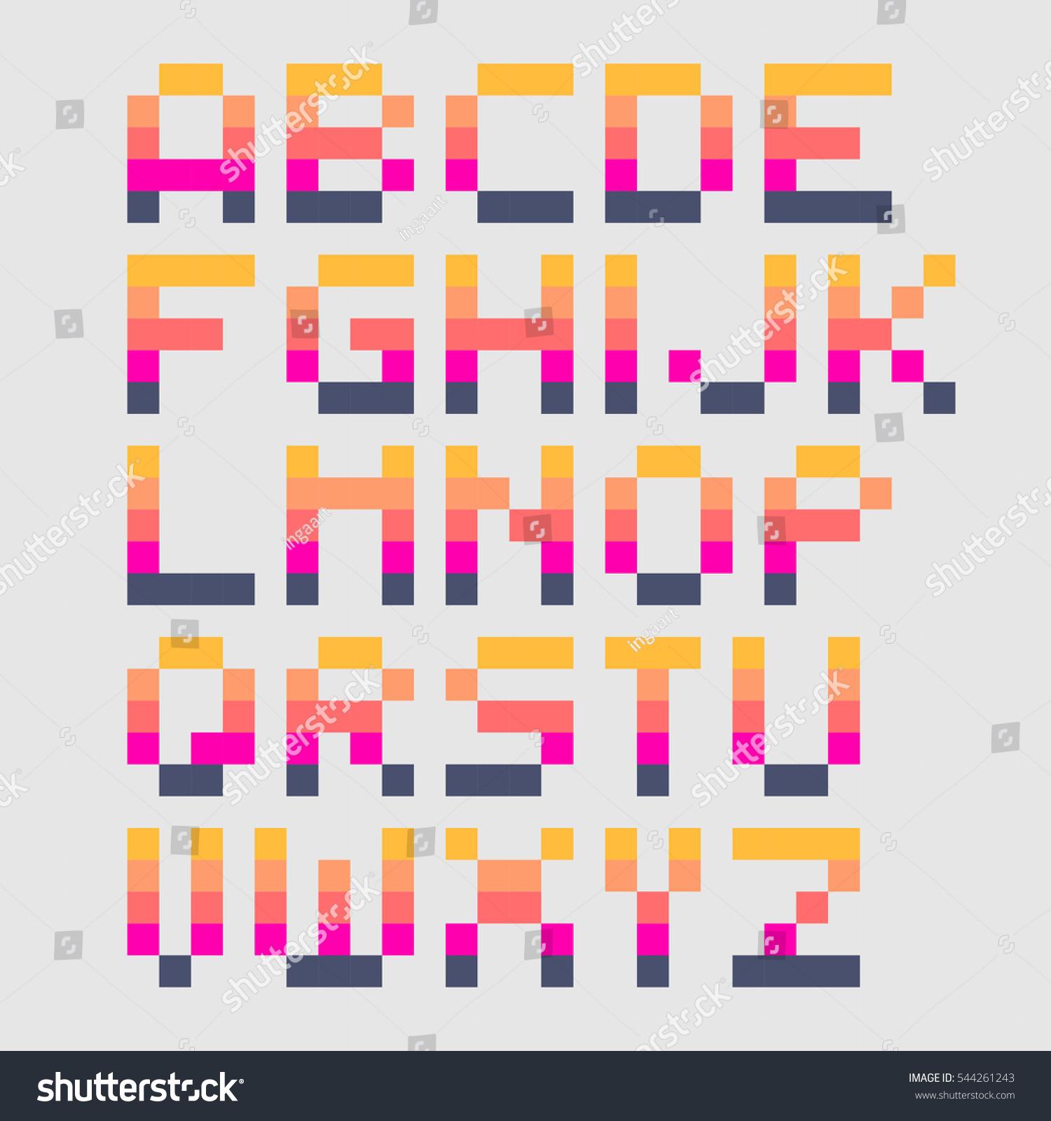 Vector Cute Pixel Art Font 4x5 Stock Vector 544261243