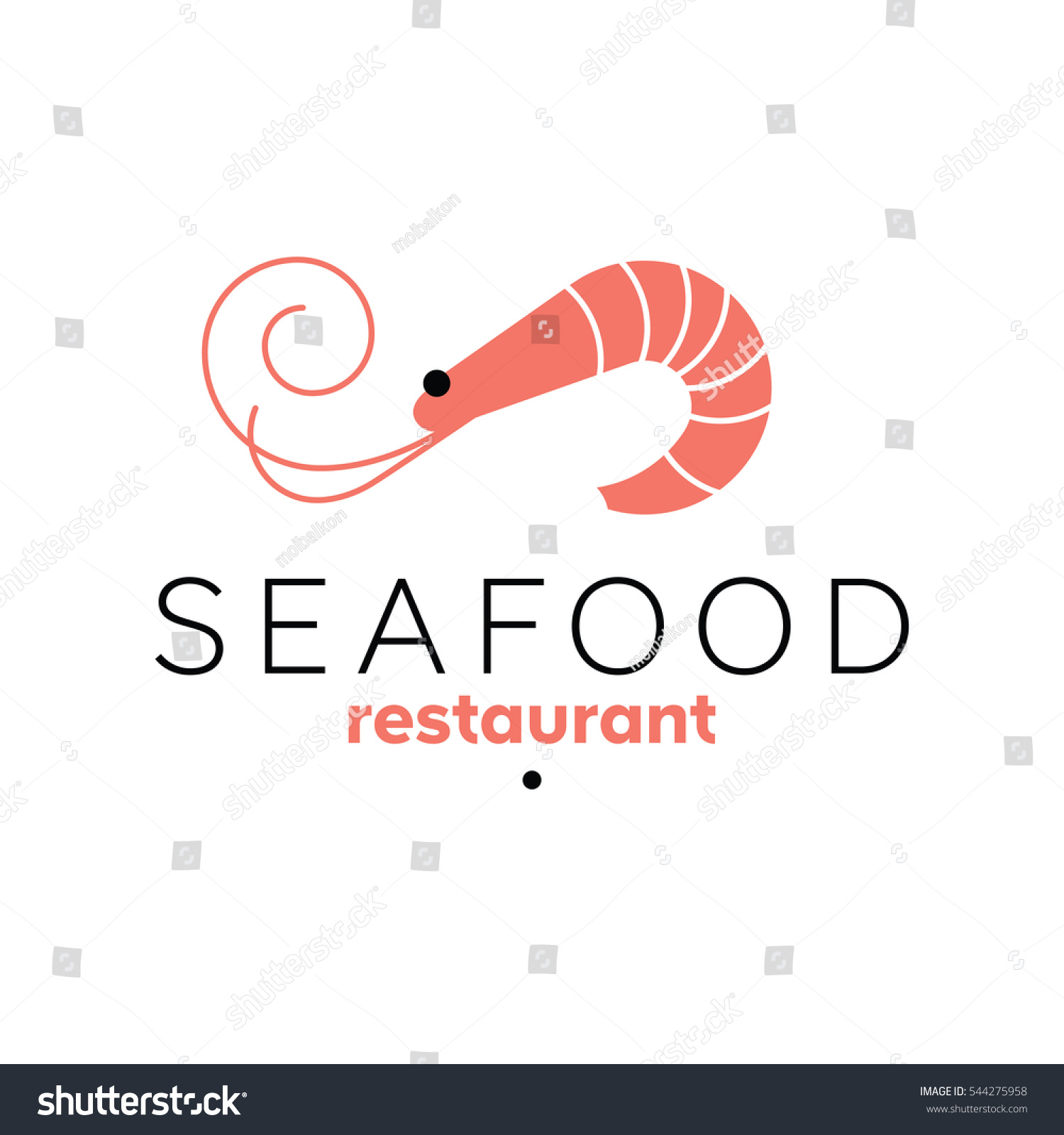 Shrimp Logo Template Seafood Restaurant Sign Stock Vector Royalty
