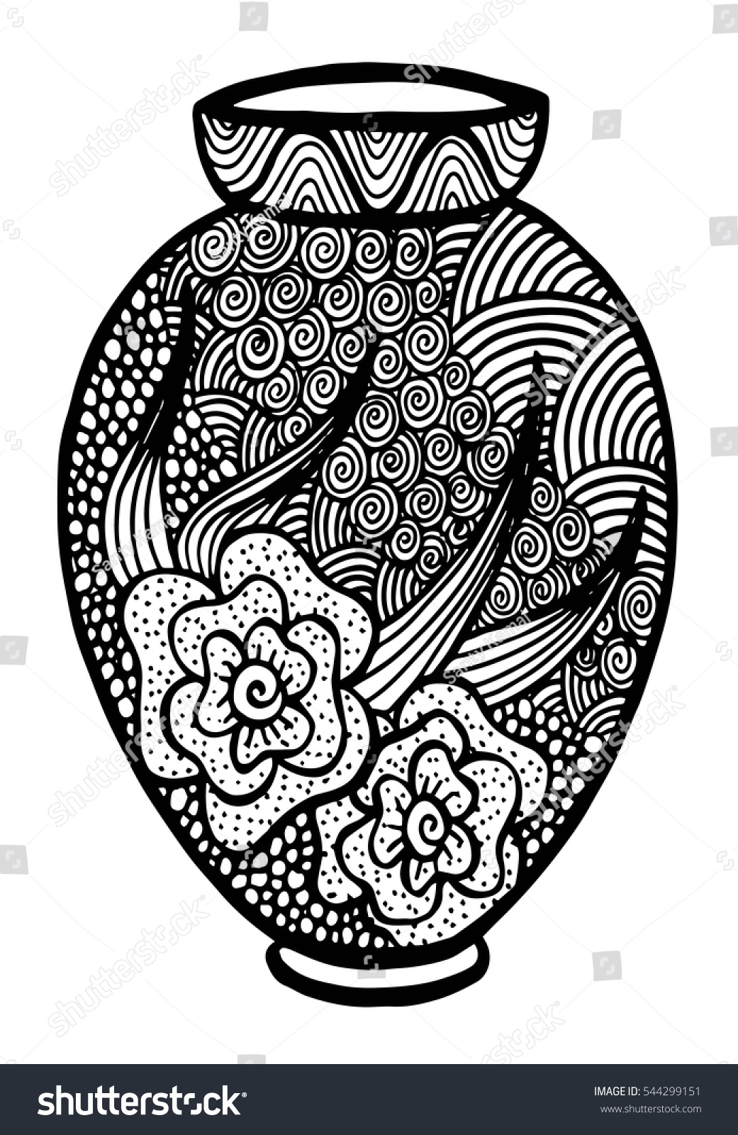 Beautiful Black White Vase Floral Decoration Stock Vector Royalty Free 544299151