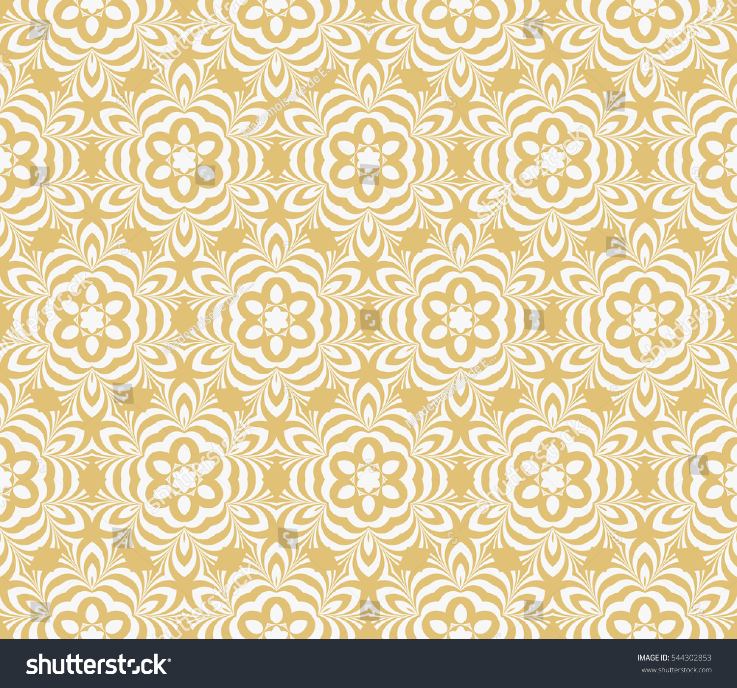 Gold White Color Seamless Floral Geometric Stock Illustration