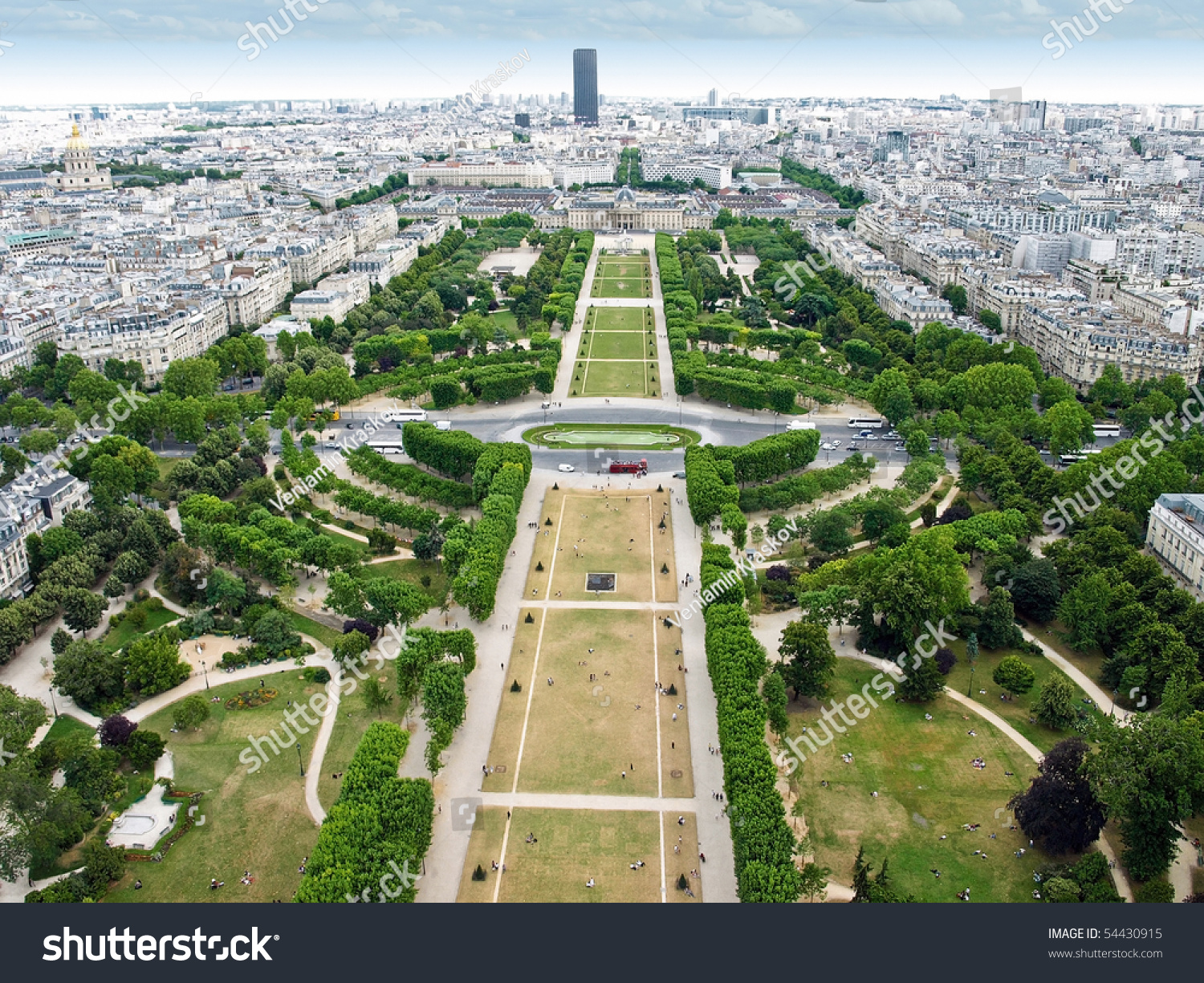 Aerial View Of Paris From Eiffel Tower Stock Photo ...