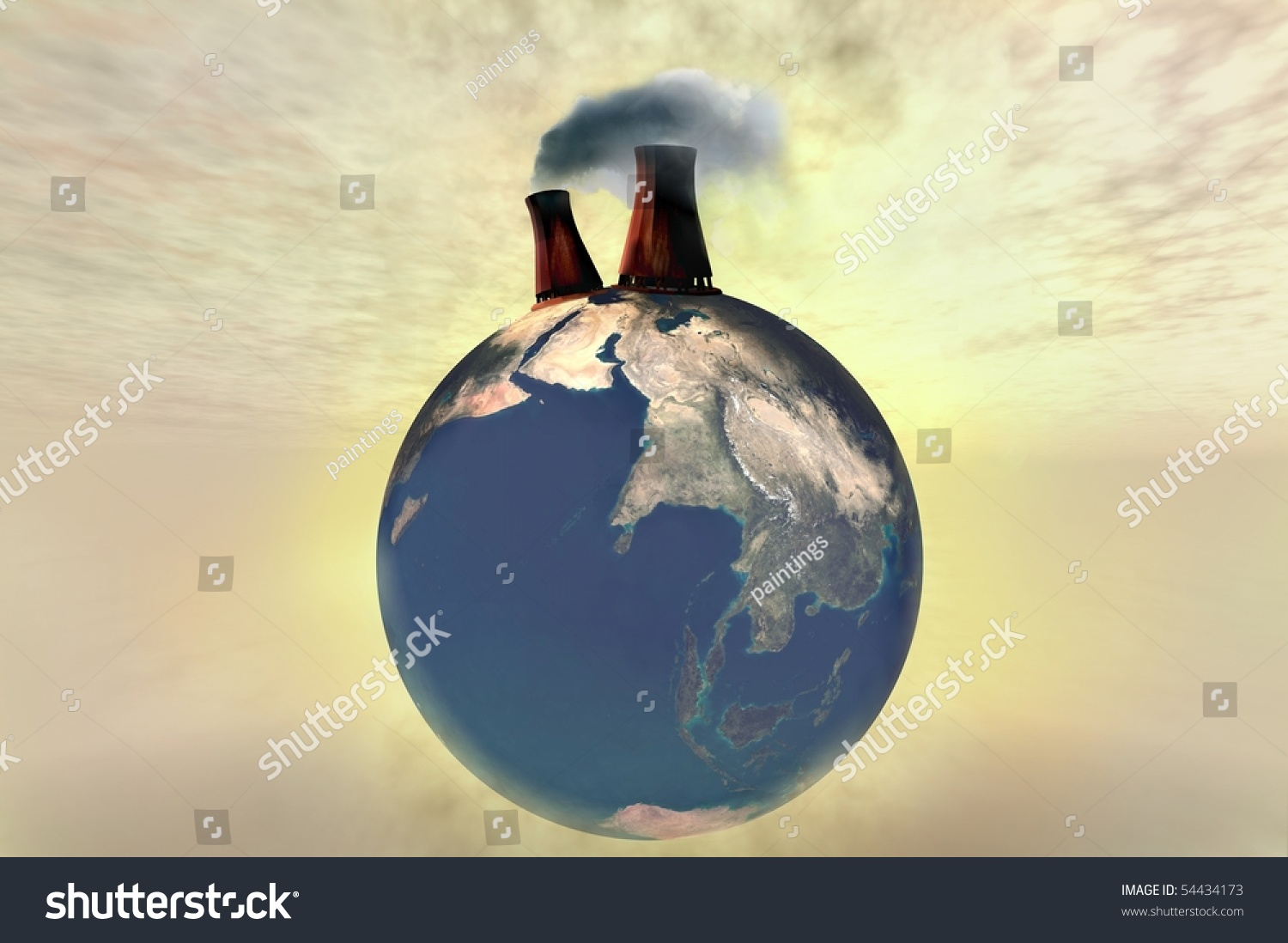 Polluted Planet Earth Globe Illustration 3d Render With ...